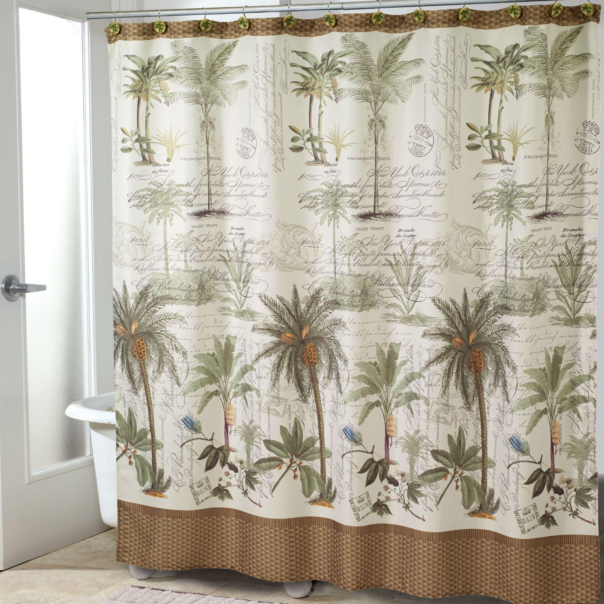 Colony Palm Shower Curtain Ivory 72 X