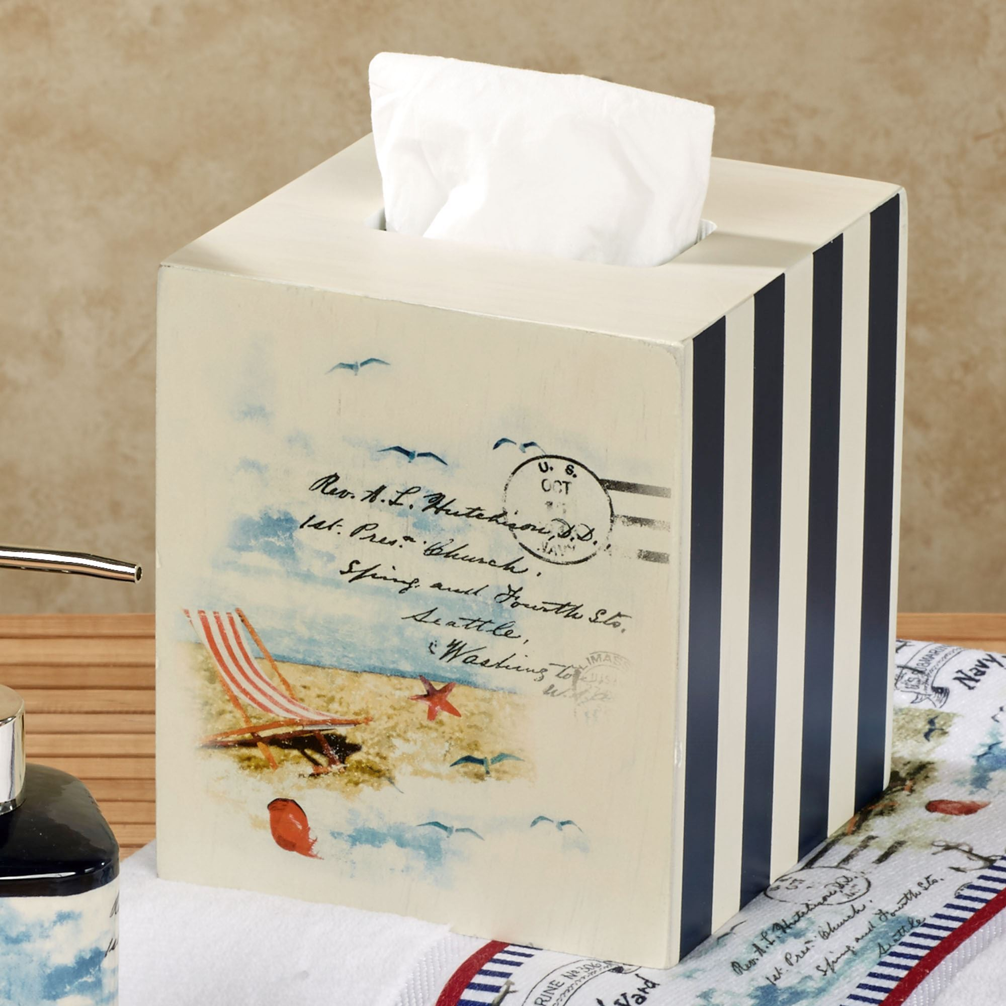 Rockaway Tissue Cover Navy