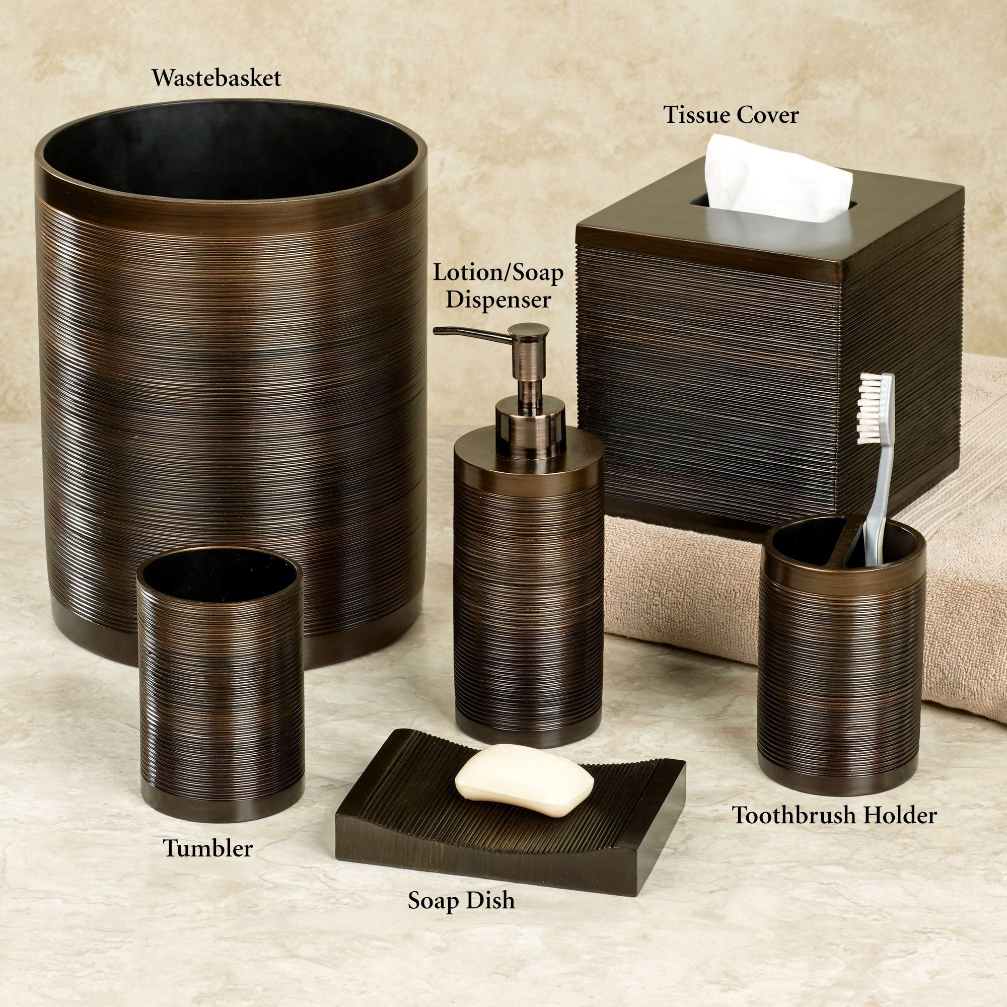 Ridley ombre bronze bath accessories by veratex for Bathroom countertop accessories sets