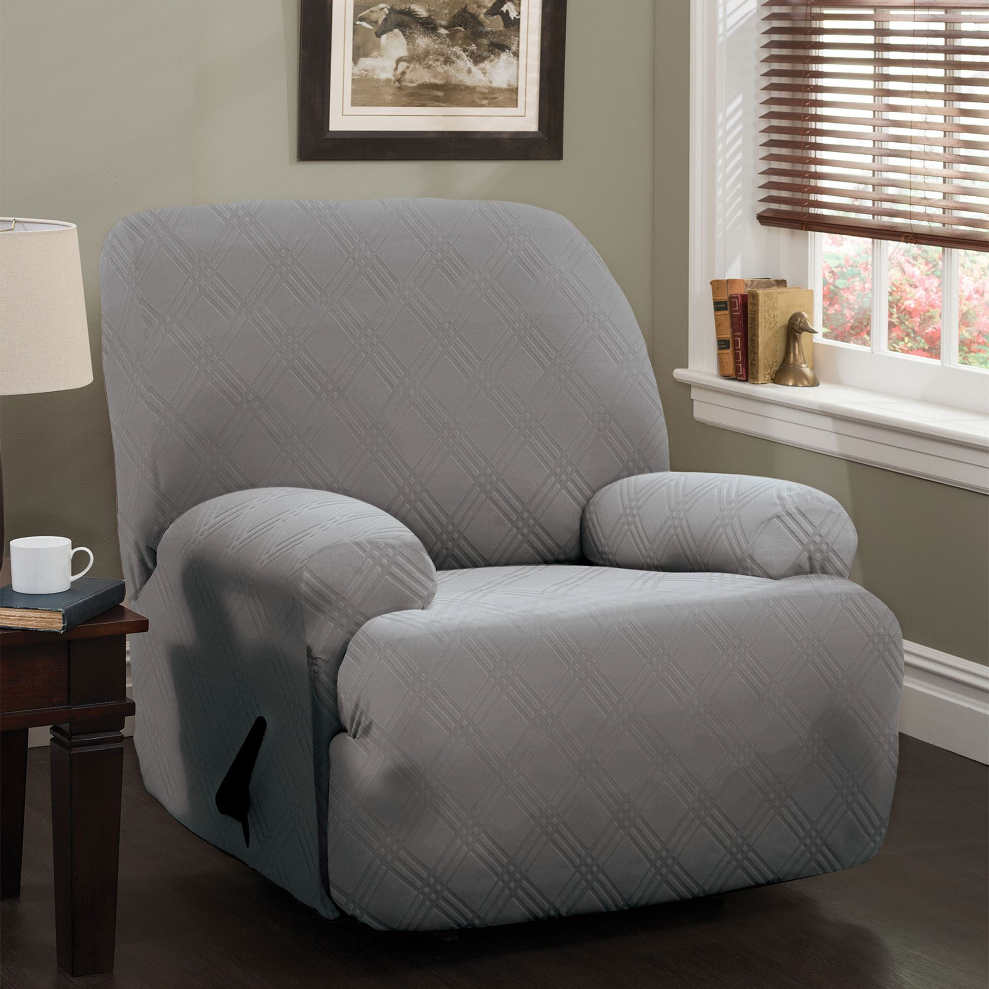 strpique slipcovers slipcover piece lift enz surefit one pique stretch products cream medium recliner