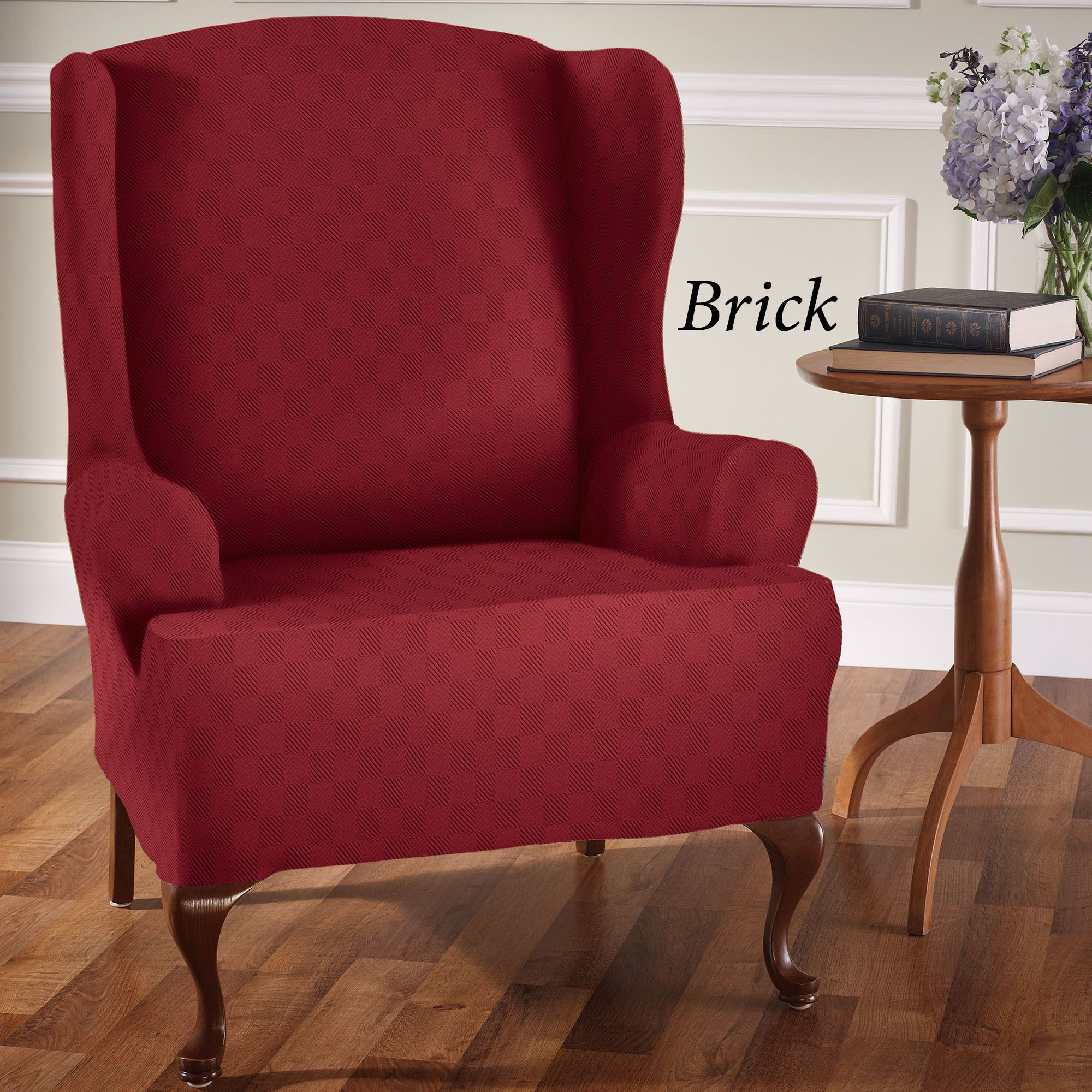 Newport stretch wing chair slipcovers for Wing back recliner chair