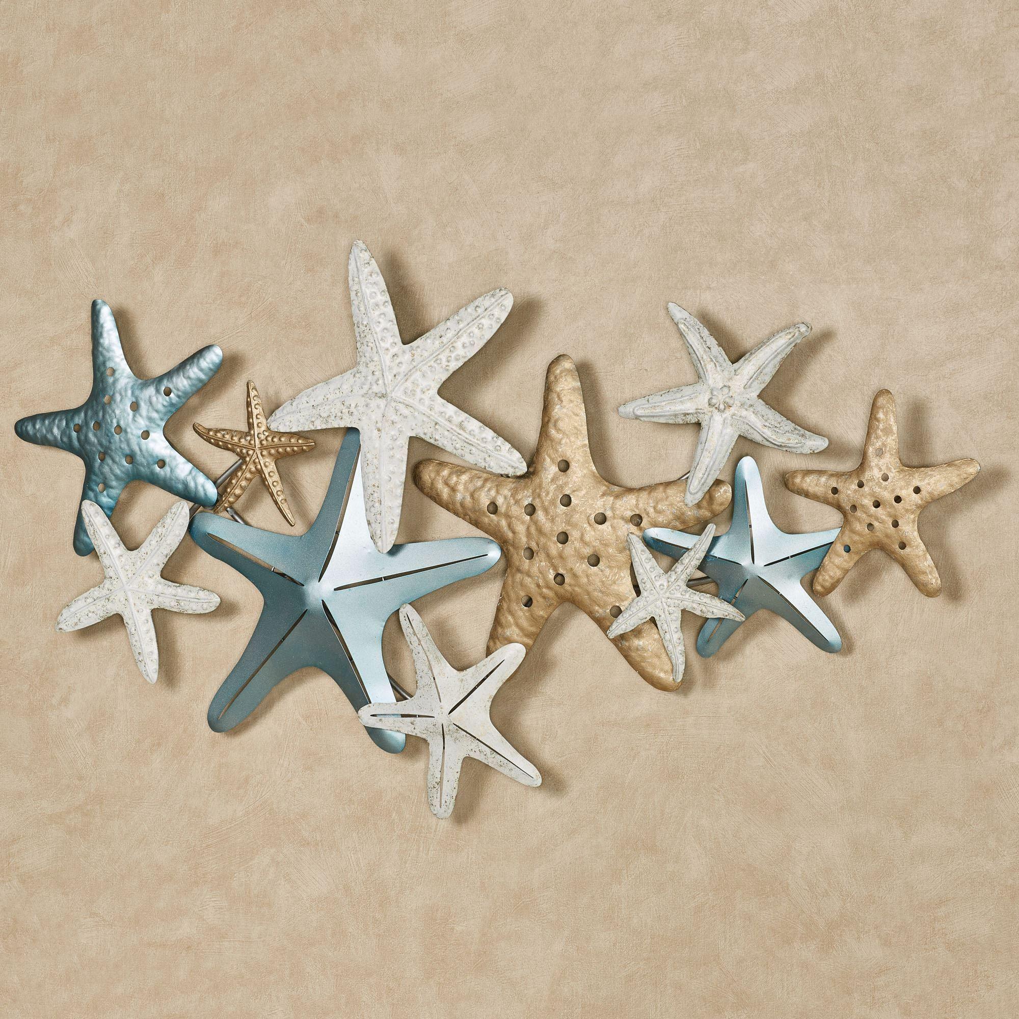 Starfish Collage Coastal Metal Wall Art