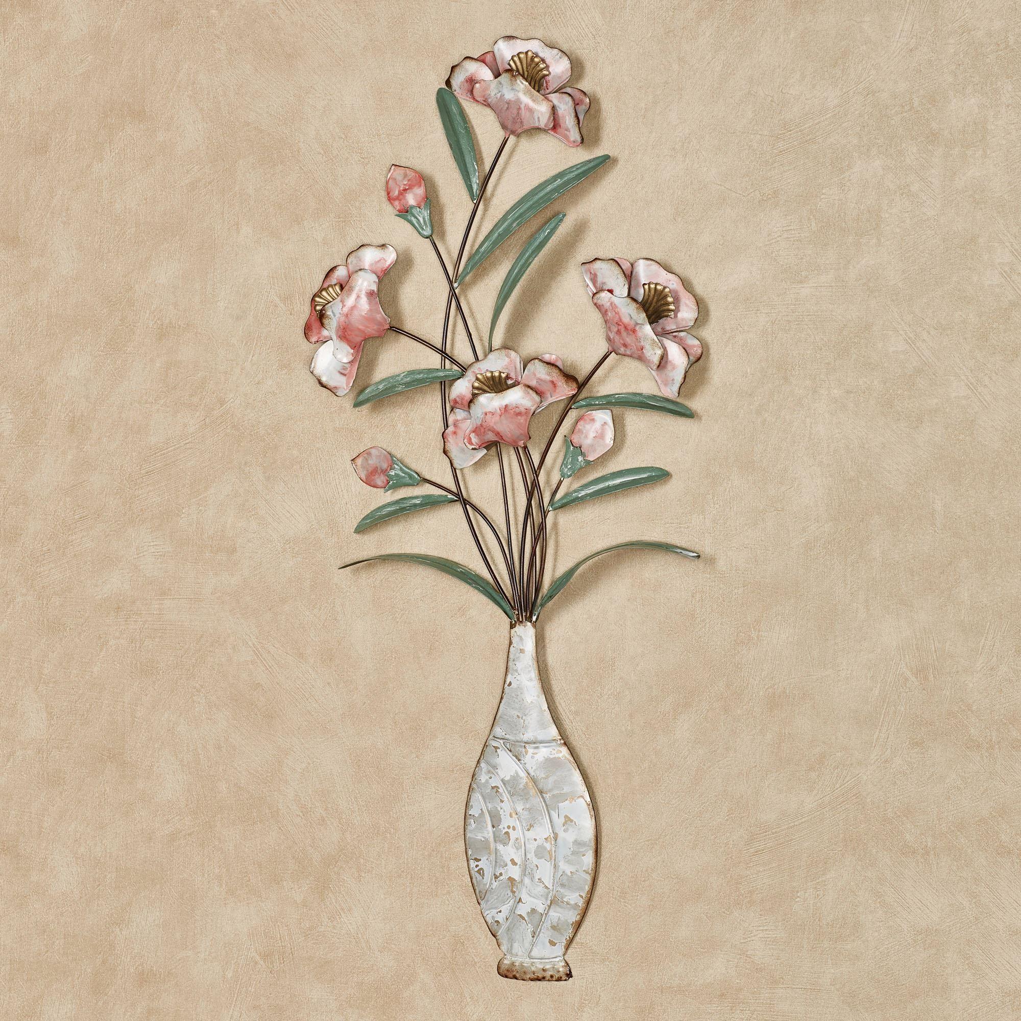Blushing Blooms Floral Metal Wall Art