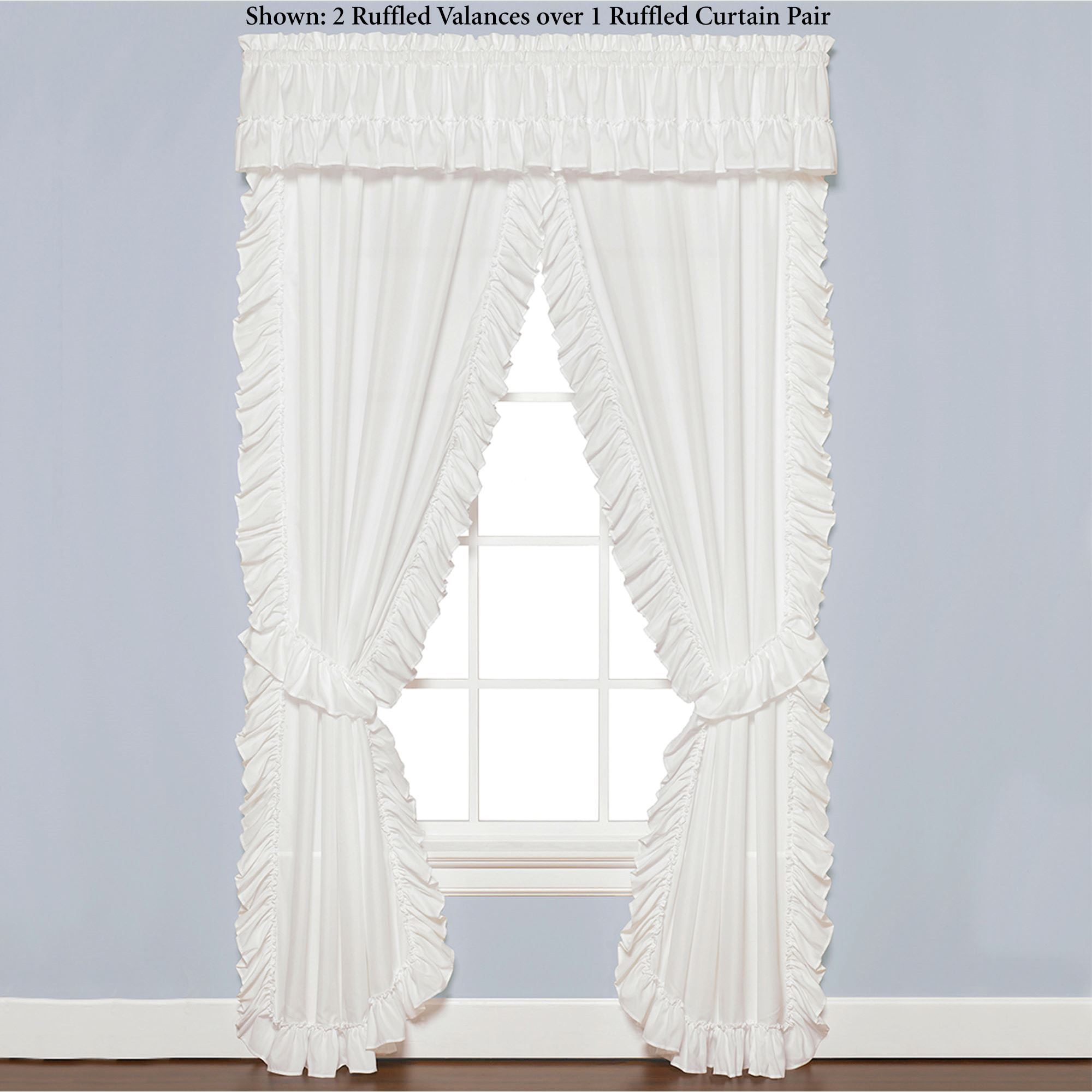 Sarah Priscilla Ruffled Curtain Pair White Click To Expand