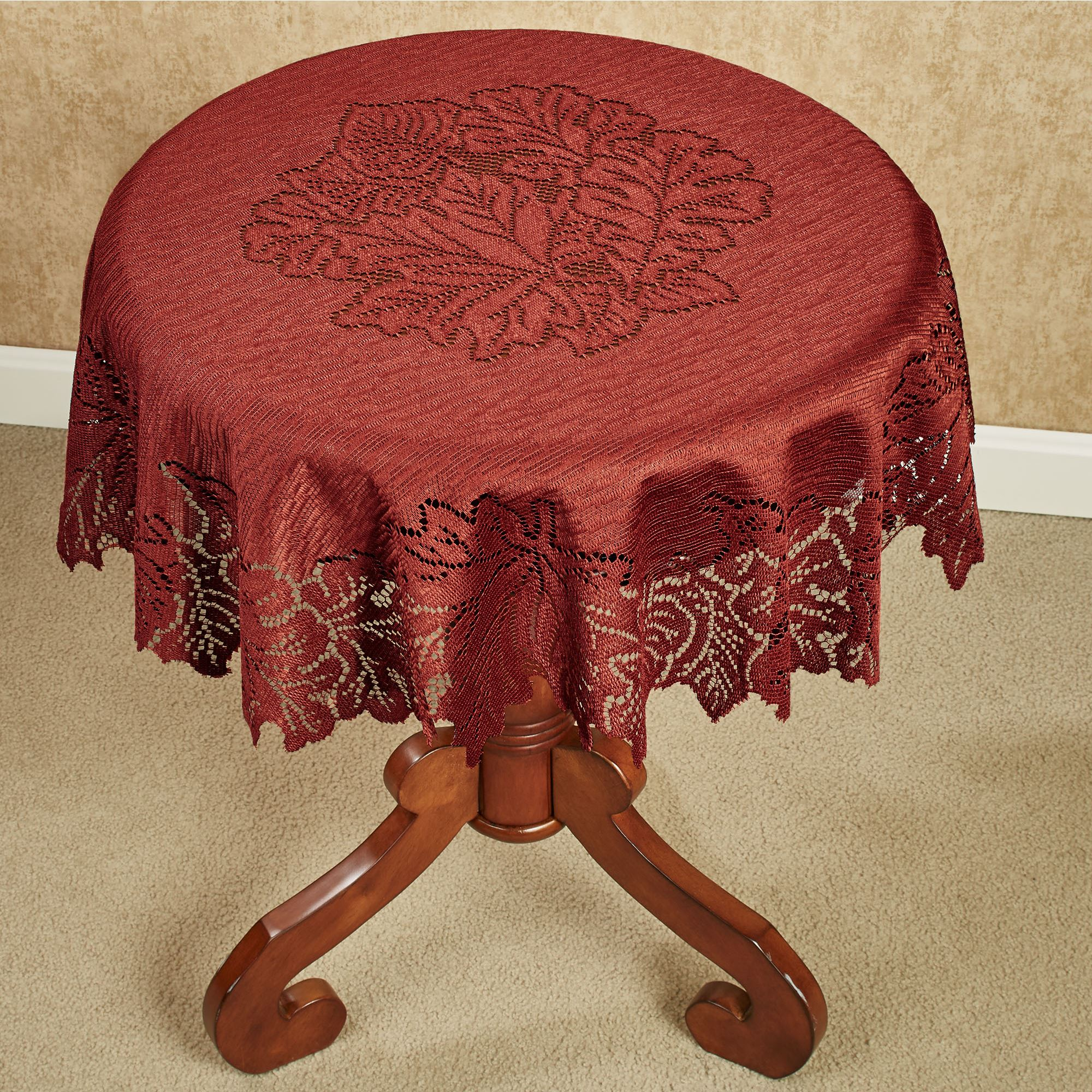 Captivating Falling Leaves Round Lace Table Topper 36 Diameter