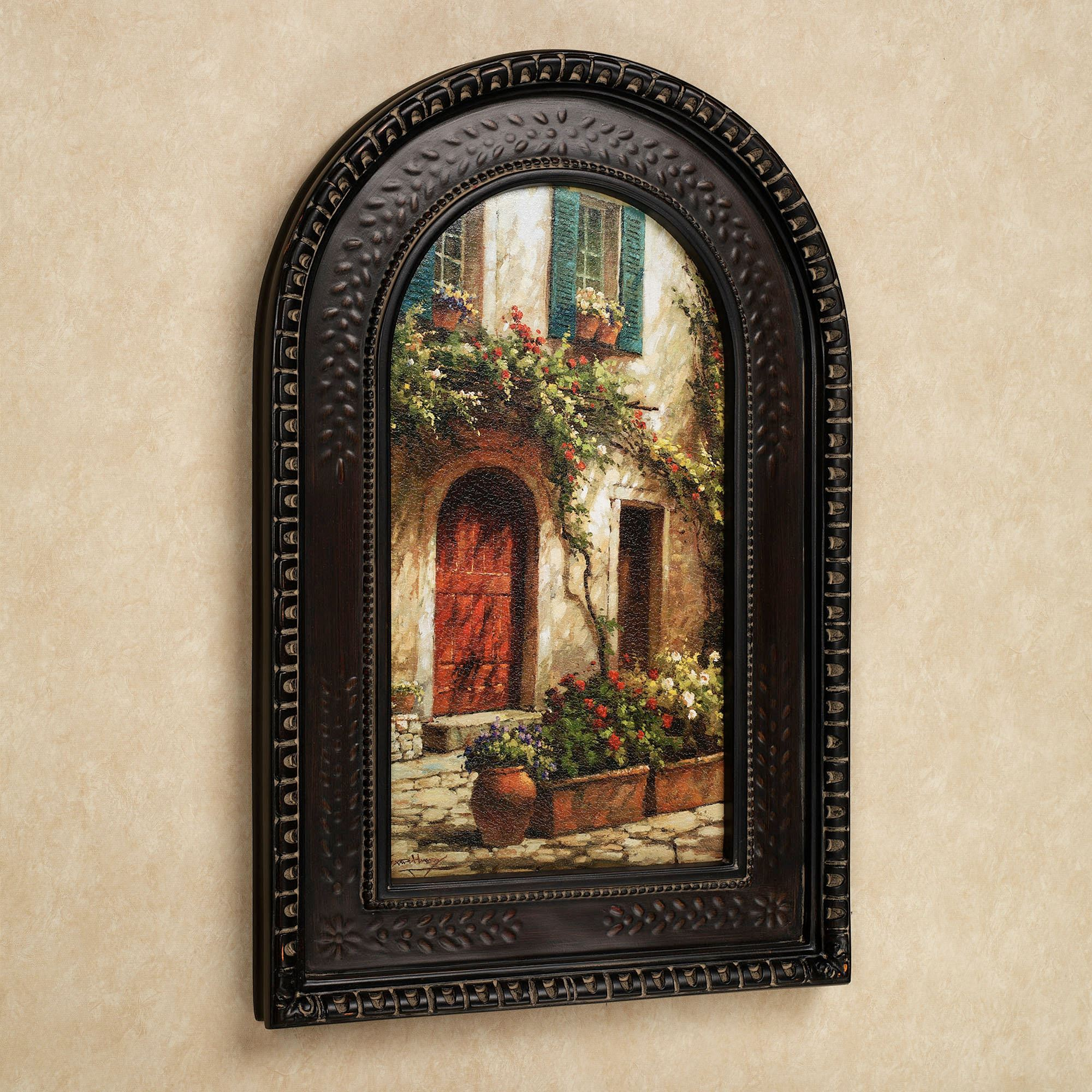 Red Door Italian Scene Arched Framed Wall Art