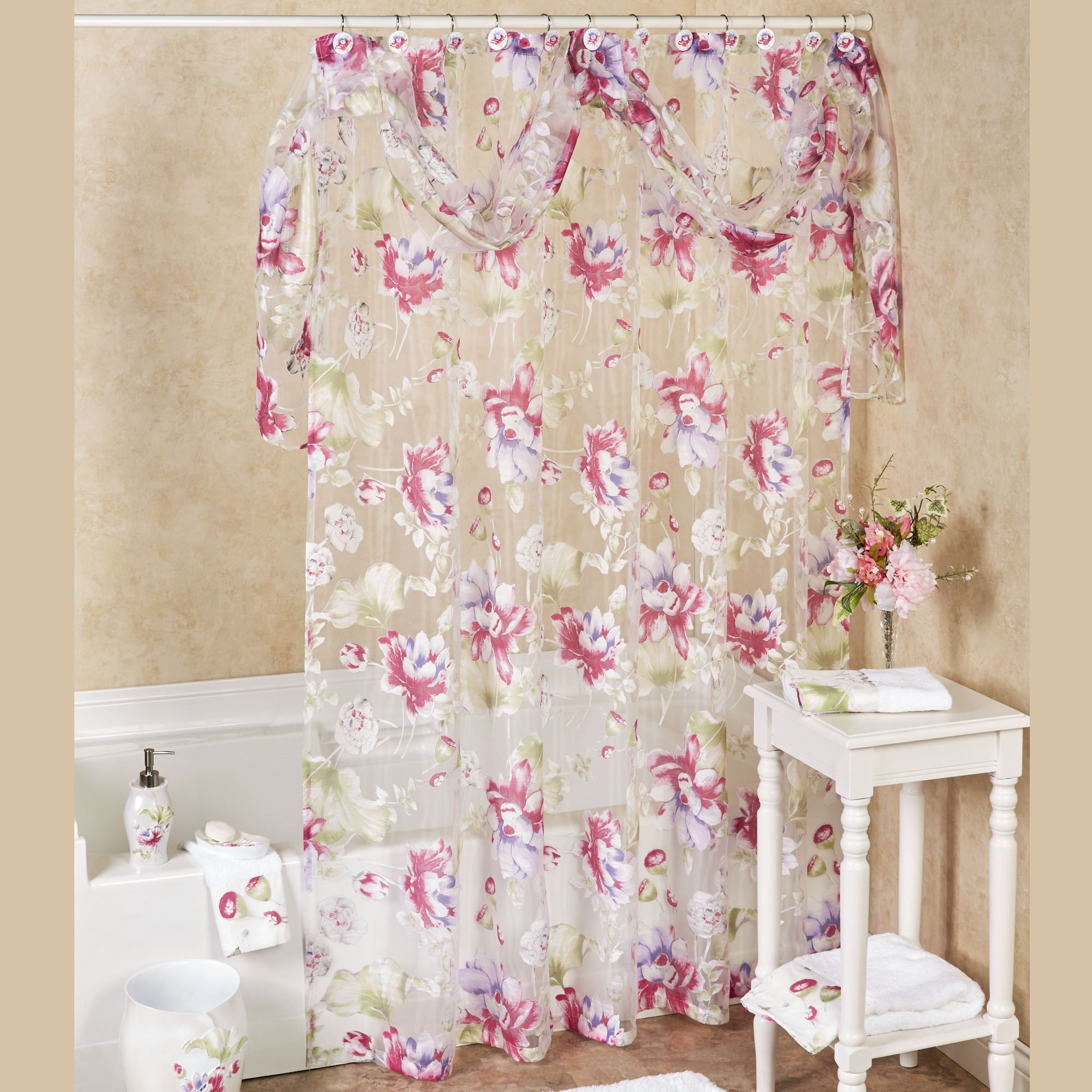 Fl Haven Sheer Shower Curtain White 72 X