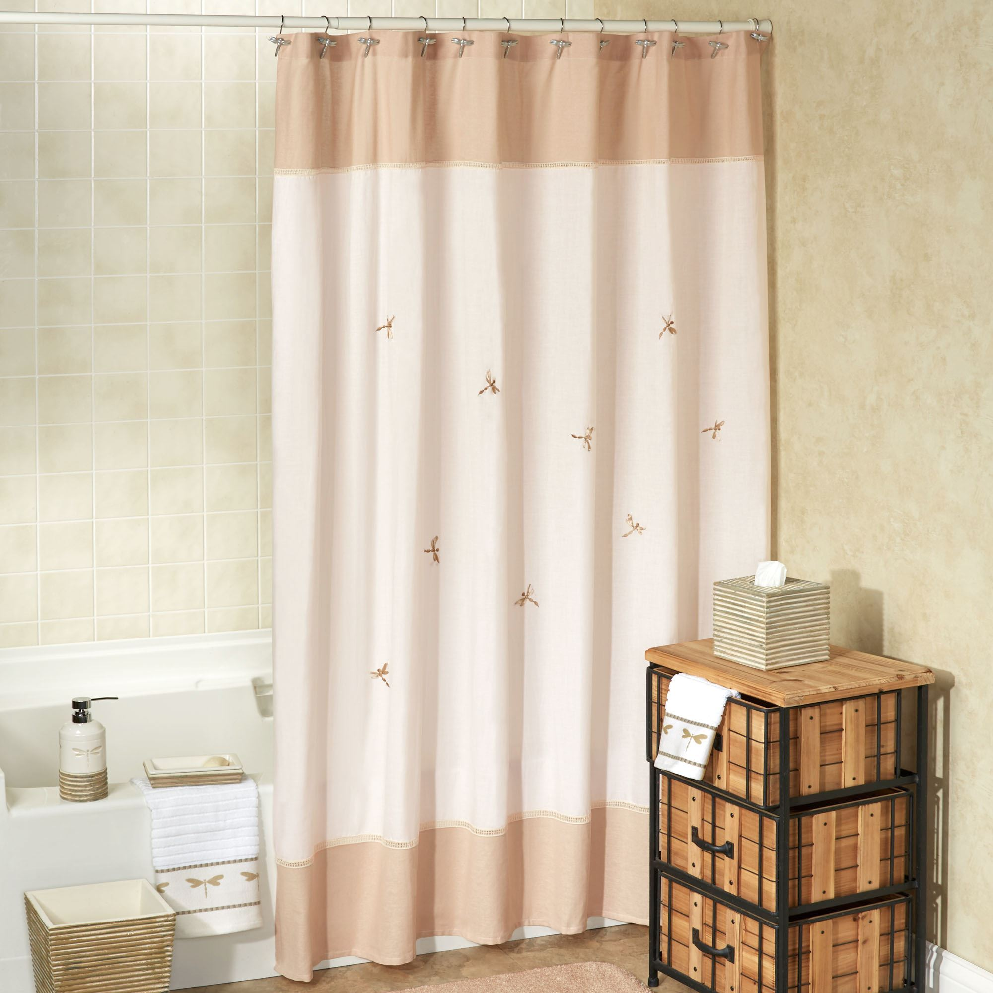 Dragonfly Shower Curtain Natural 70 X 72 Touch To Zoom