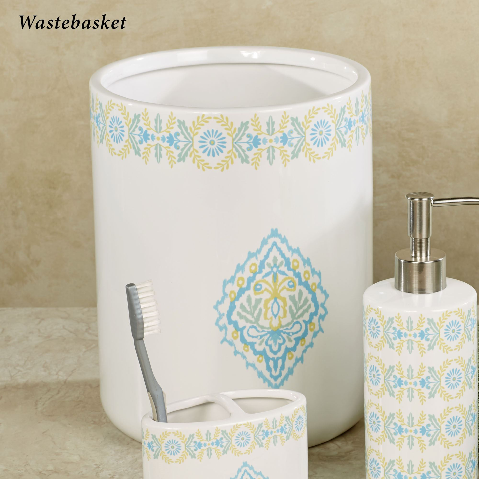 diamond bathroom accessories. Diamond Wastebasket Off White Bathroom Accessories