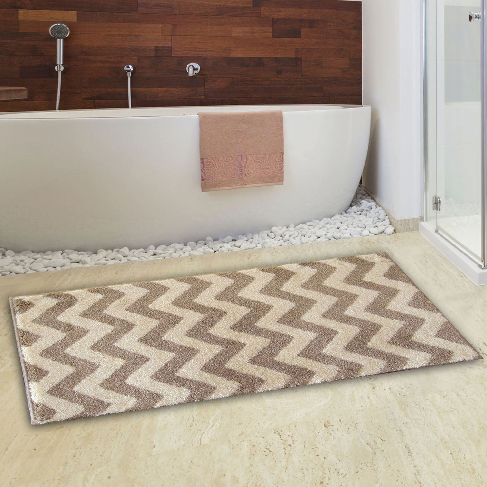 Light Brown Chevron Bath Rug
