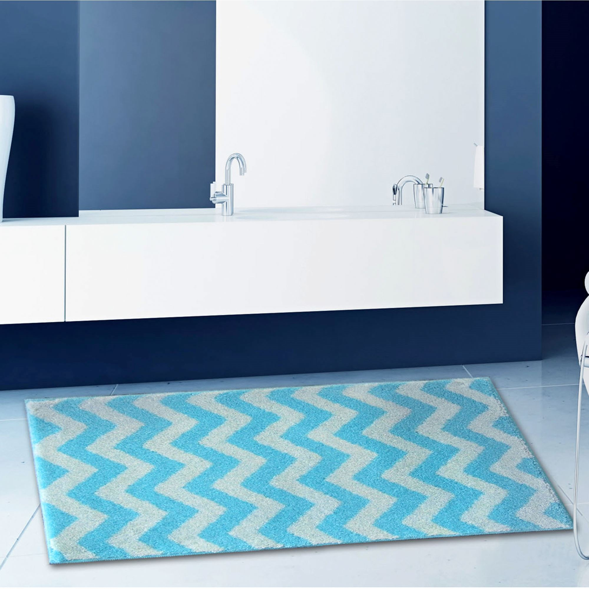 Blue Chevron Bath Rug