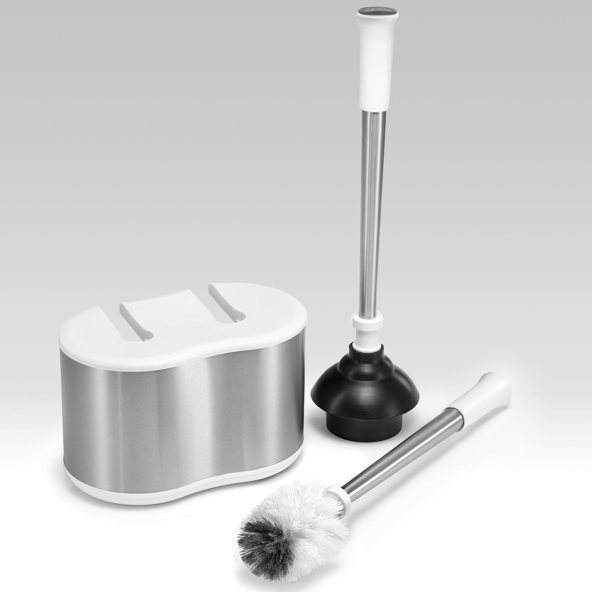 Toilet Bowl Brush And Plunger Caddy Set