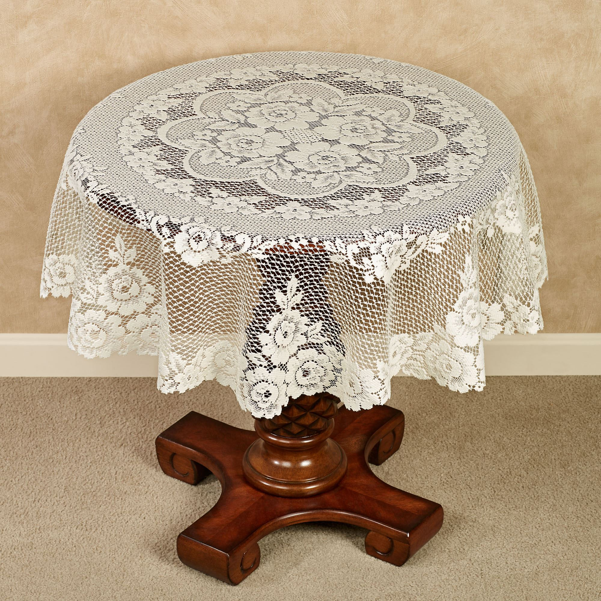 Victorian Lace Round Table Topper 43 Diameter