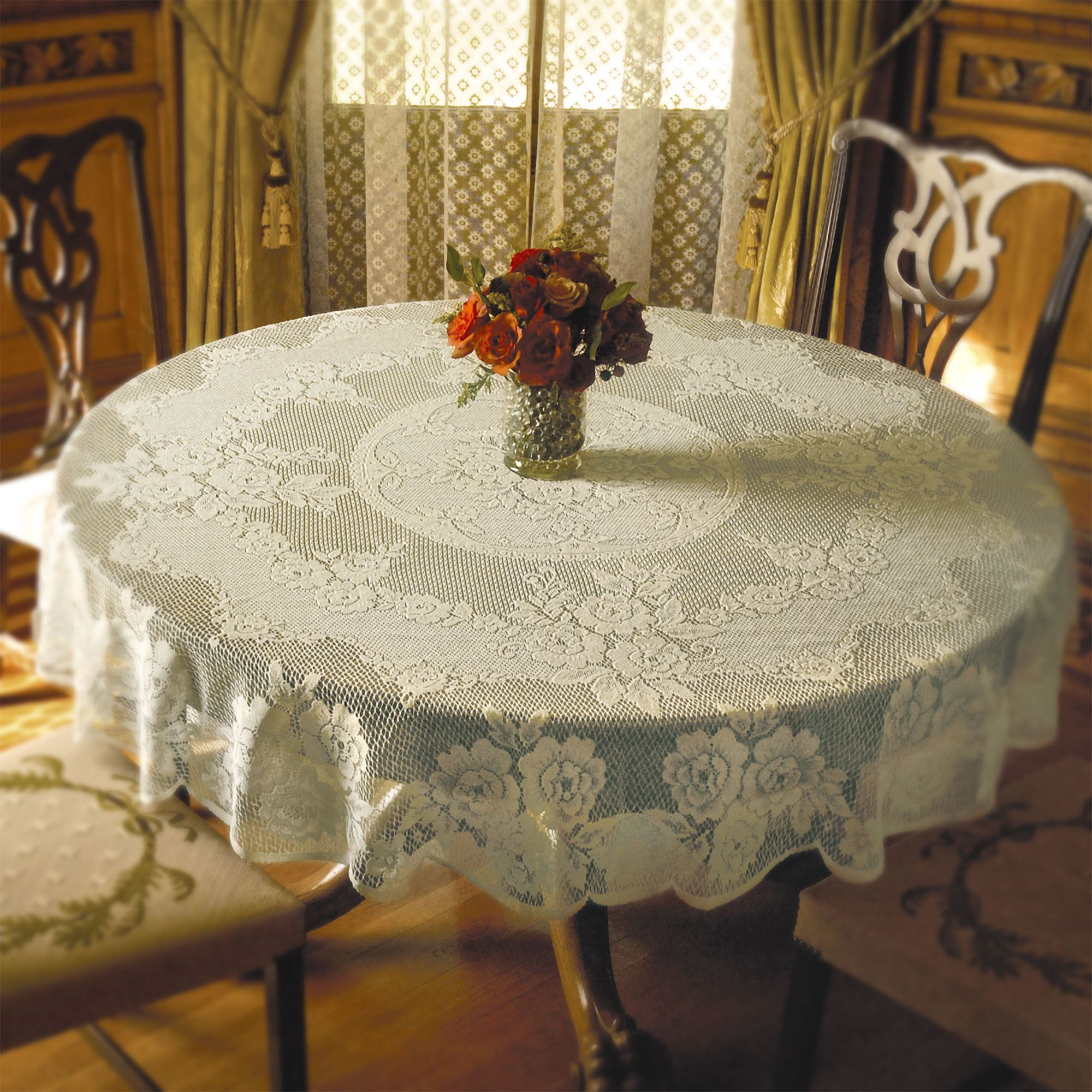 Victorian Lace Round Tablecloth 72 Diameter