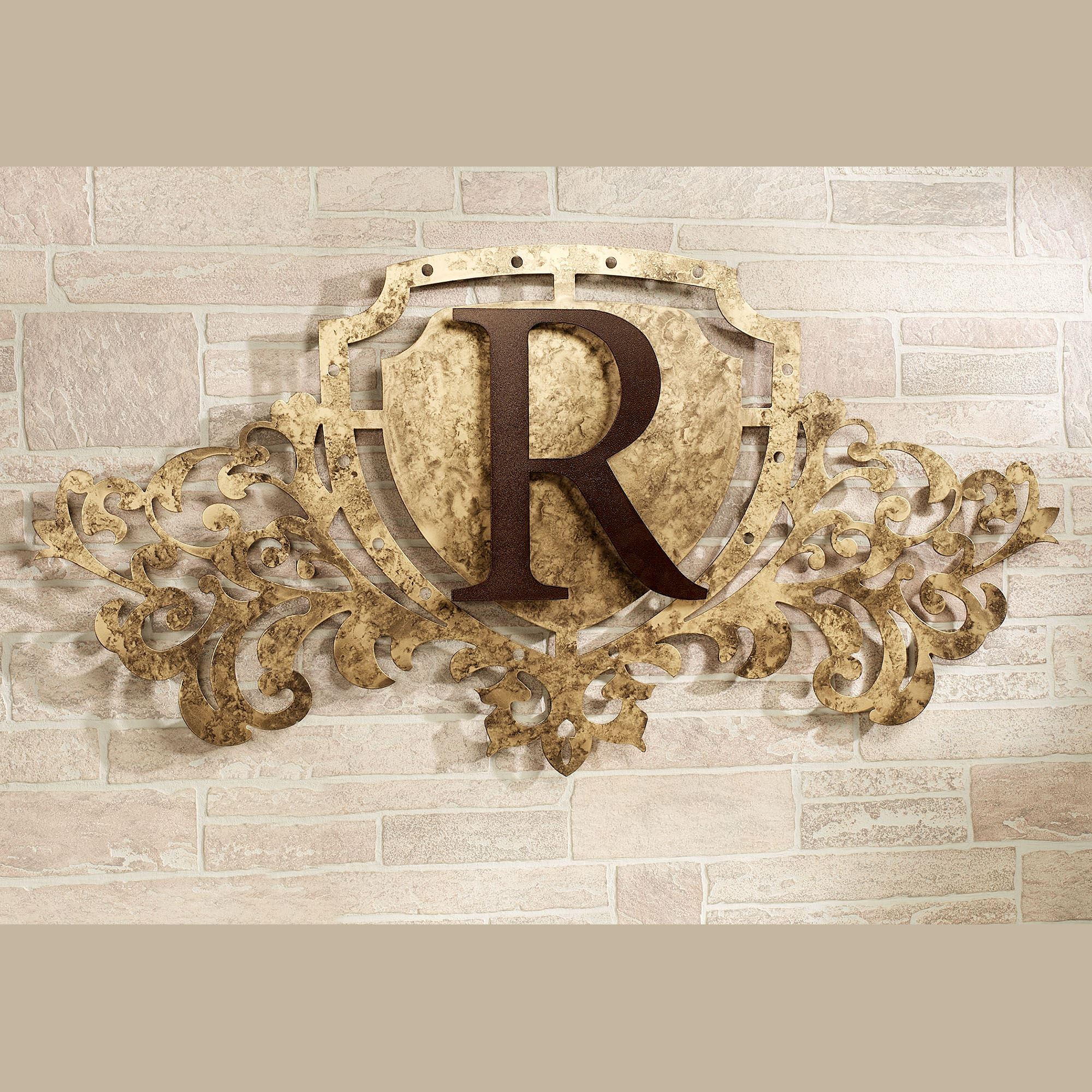 Metal Monogram Letters Wall Art Generations Gold Monogram Crest Metal Wall Art Sign