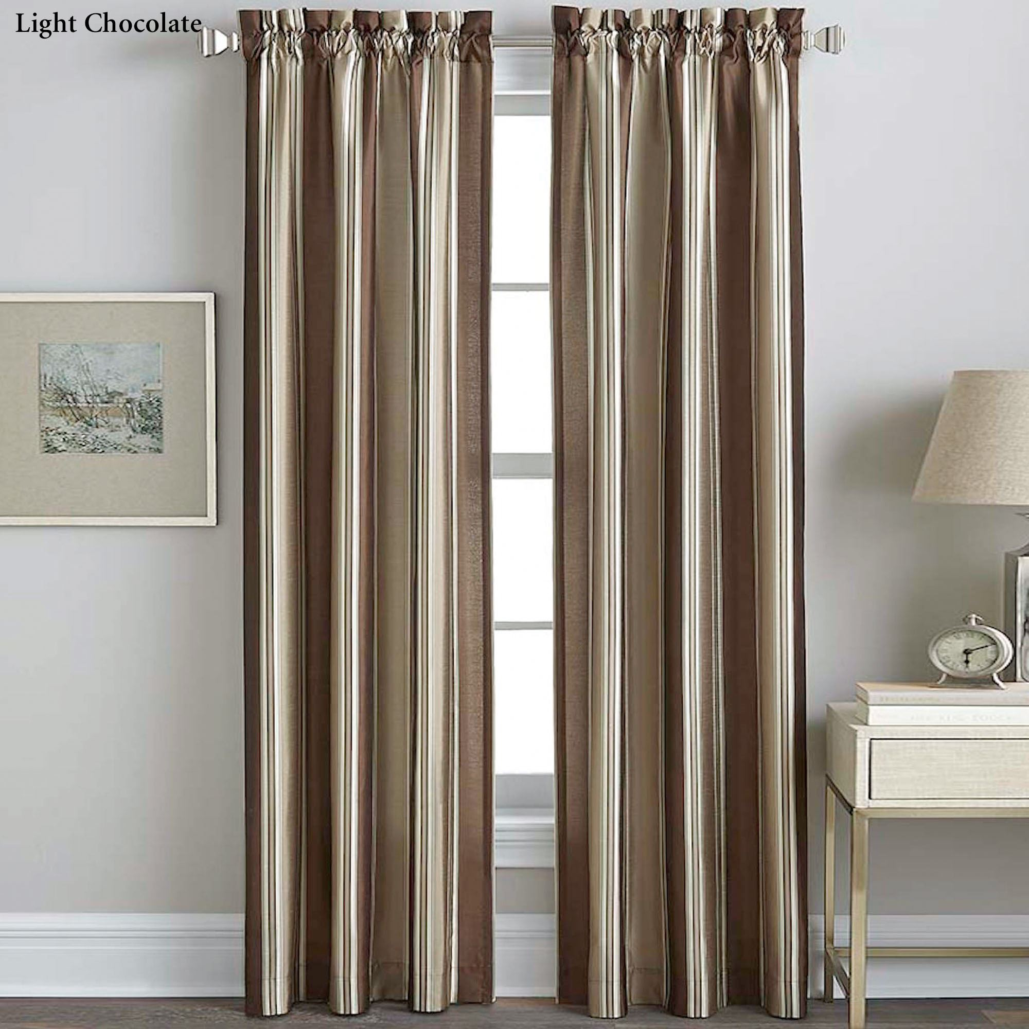 Faux Silk Striped Curtain Panels