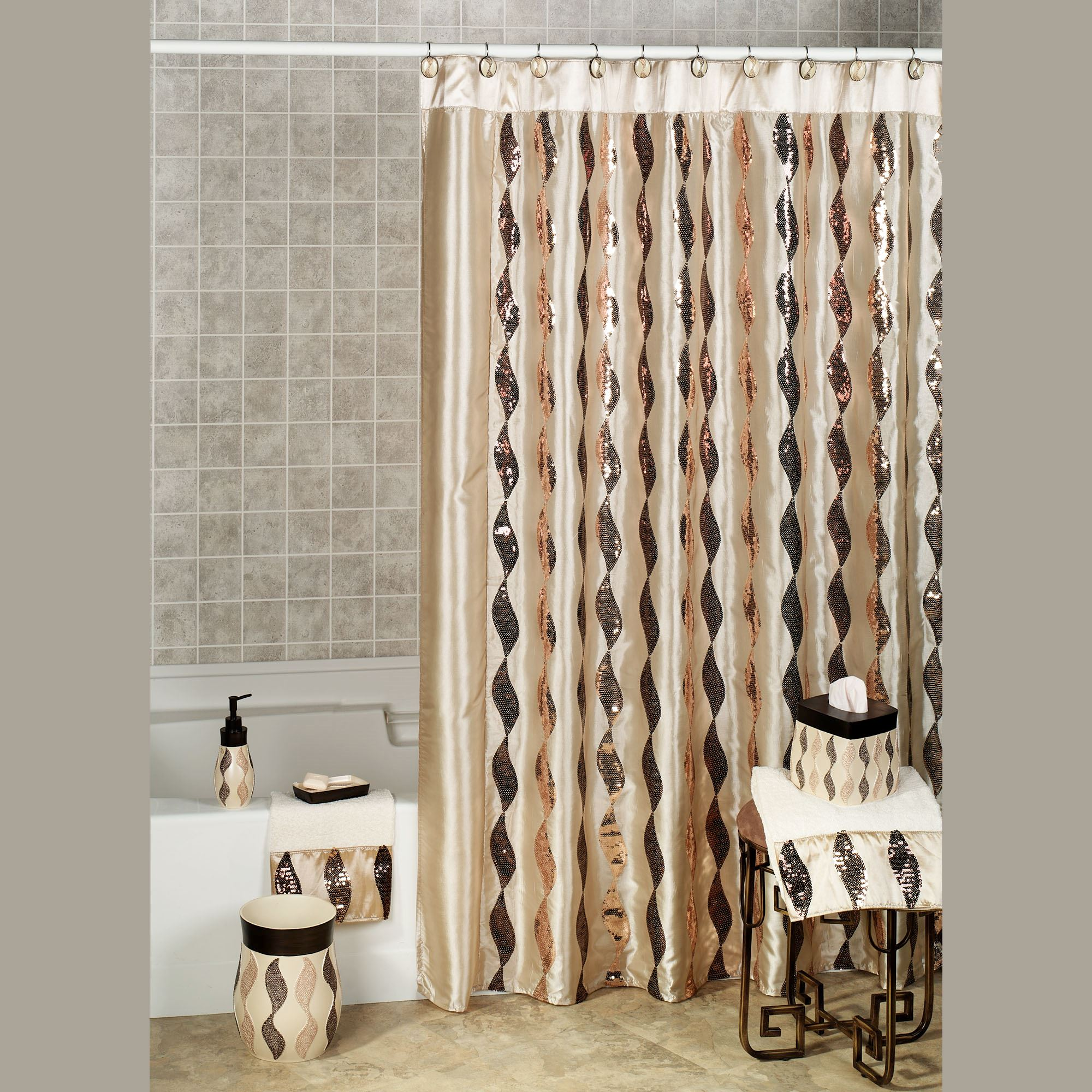 bathroom sets shower stone curtains mosaic bronze curtain x p fabric