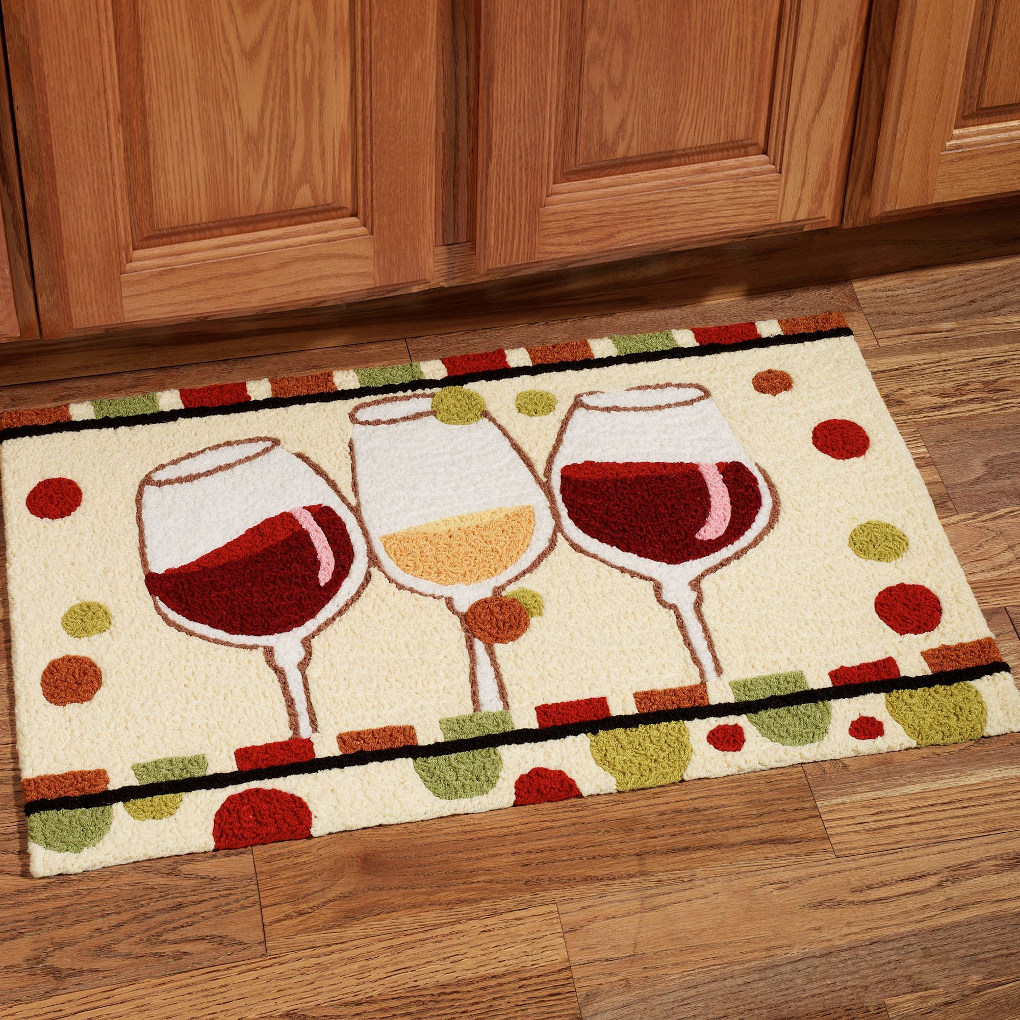 En Vin Wine Glass Handmade Kitchen Rug