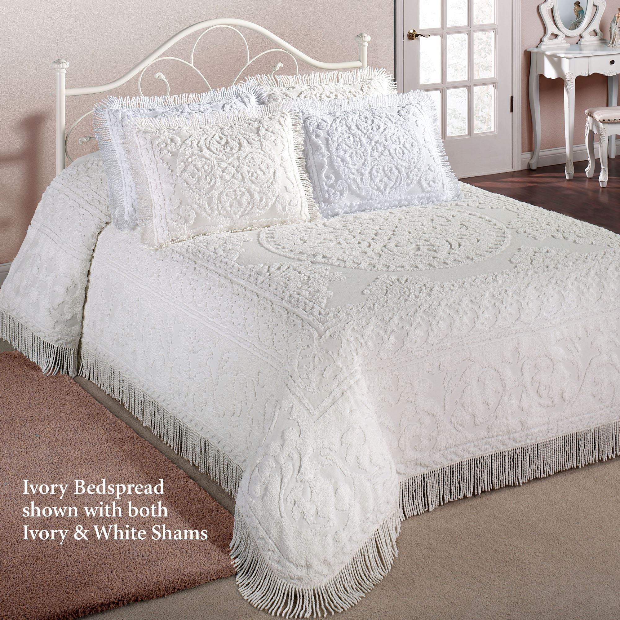 Cotton Chenille Medallion Bedspread Bedding