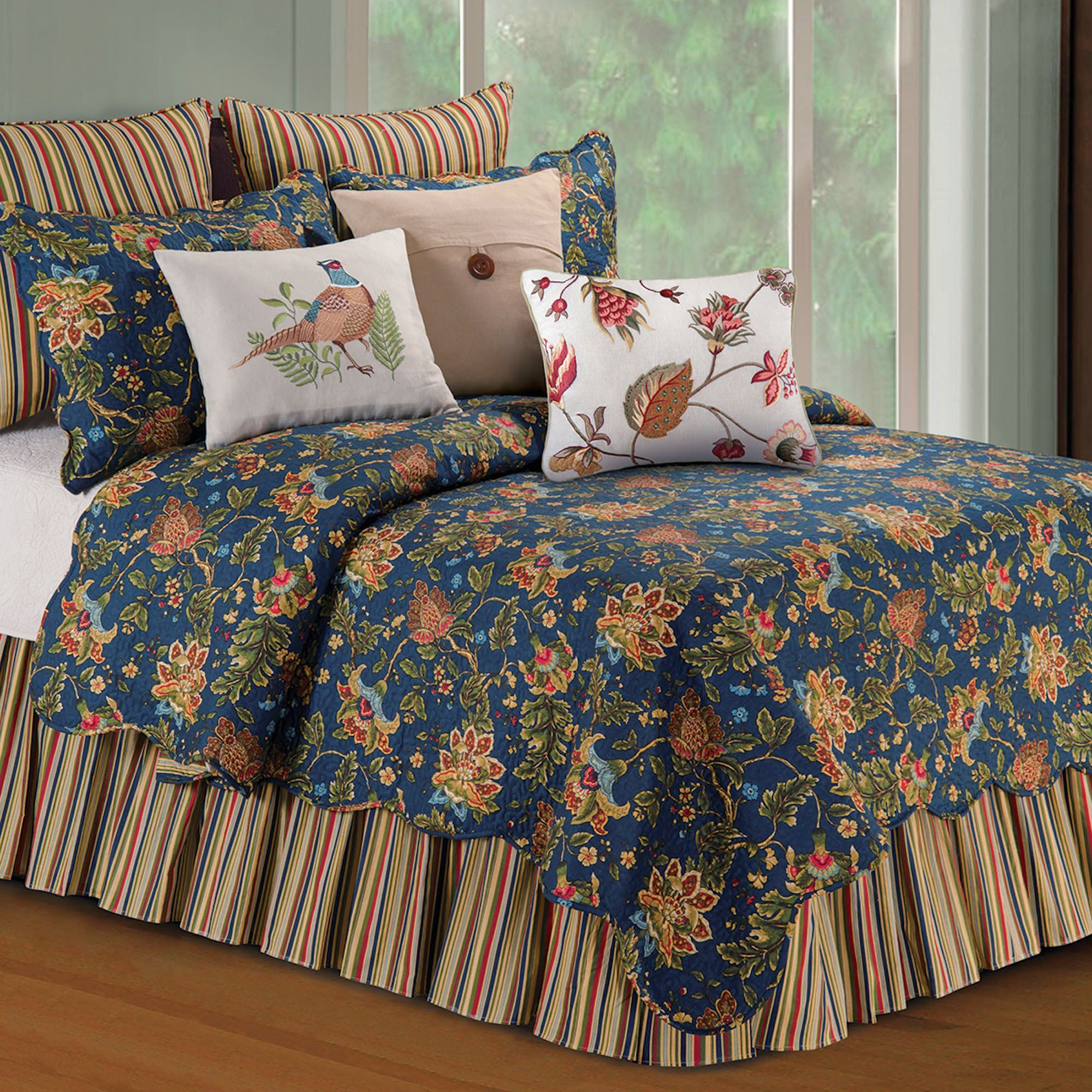 Hartford Jacobean Floral Midnight Blue Quilt Bedding : blue quilts bedding - Adamdwight.com