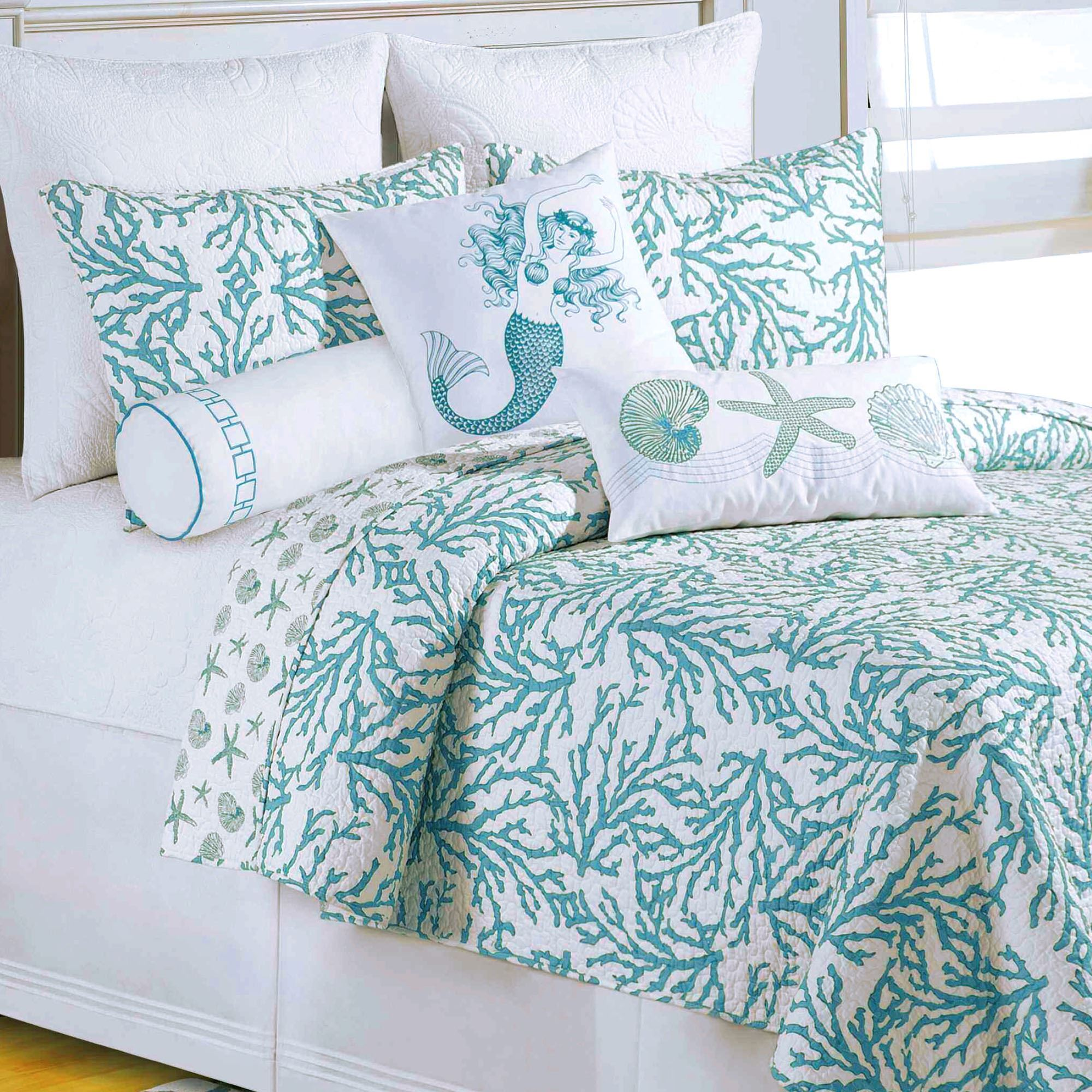 Cora Turquoise Coral Coastal Quilt Bedding : coral quilt - Adamdwight.com
