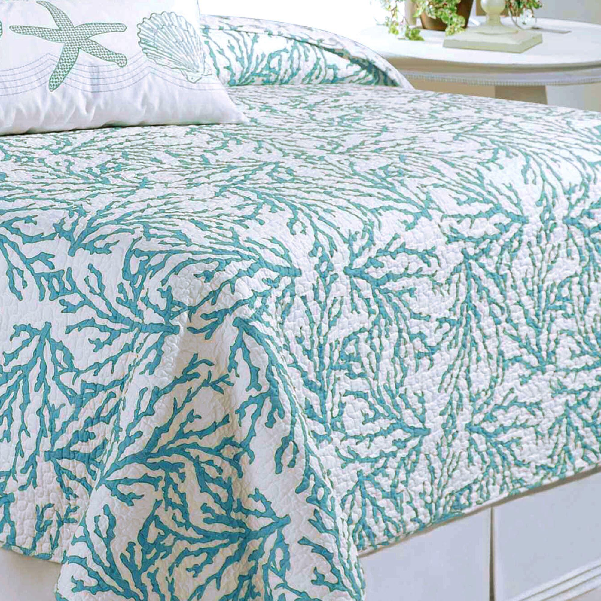 Cora Turquoise Coral Coastal Quilt Bedding