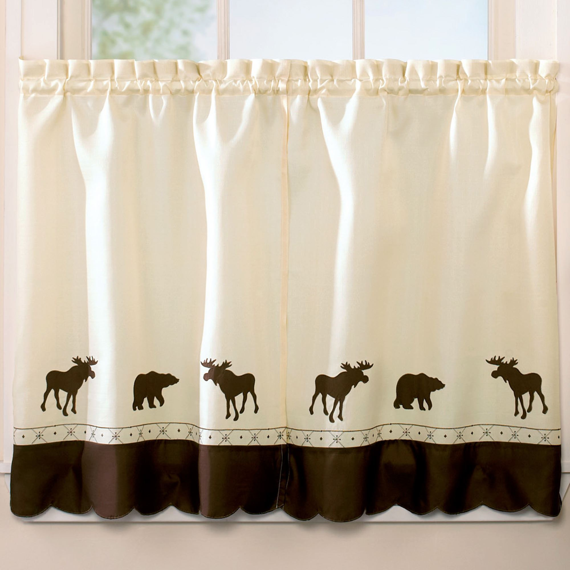 Forest Bear Moose Rustic Tier Window Treatment