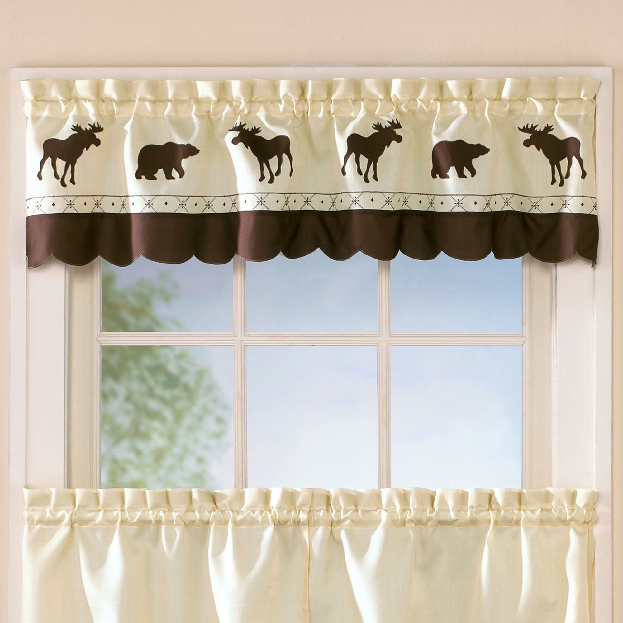 Popular Forest Bear Moose Rustic Tier Window Treatment WP26