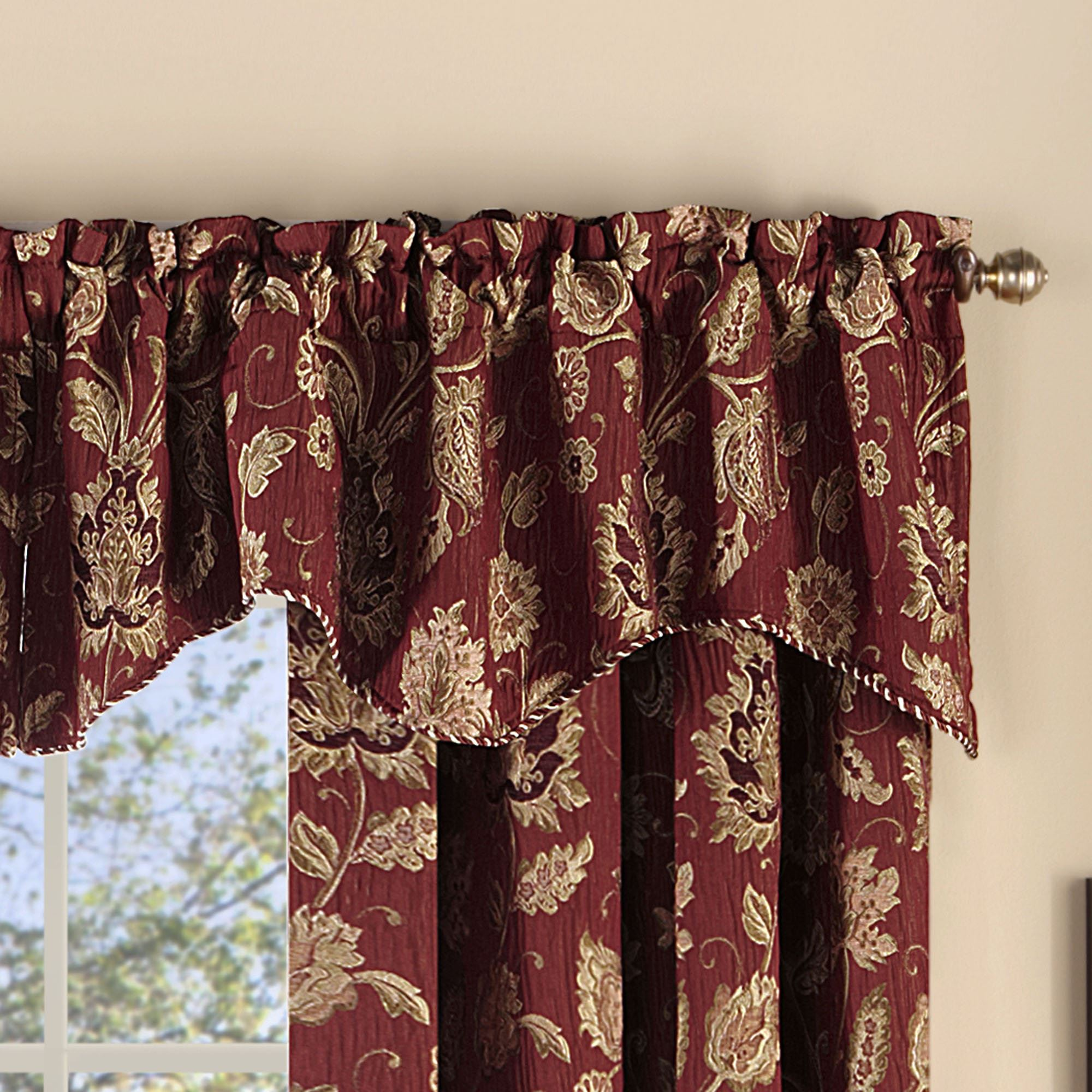 unusual brown trendy valances amazing of platform stripe full burgundy satisfying beige waterfall breath and excellent valance ombre size