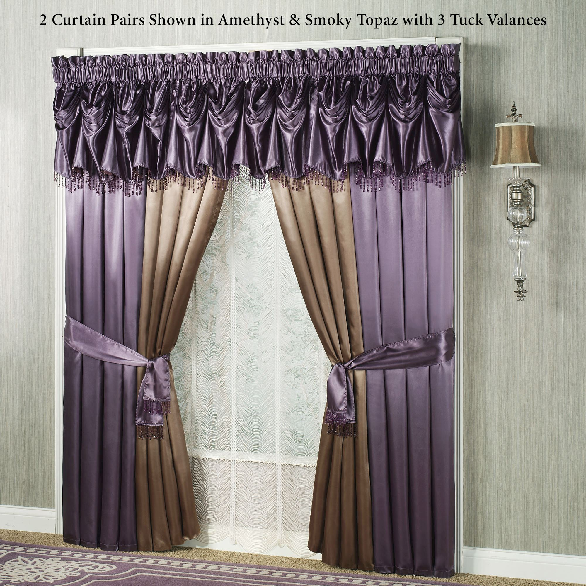 Portia I Wide Curtains With Sash Tiebacks