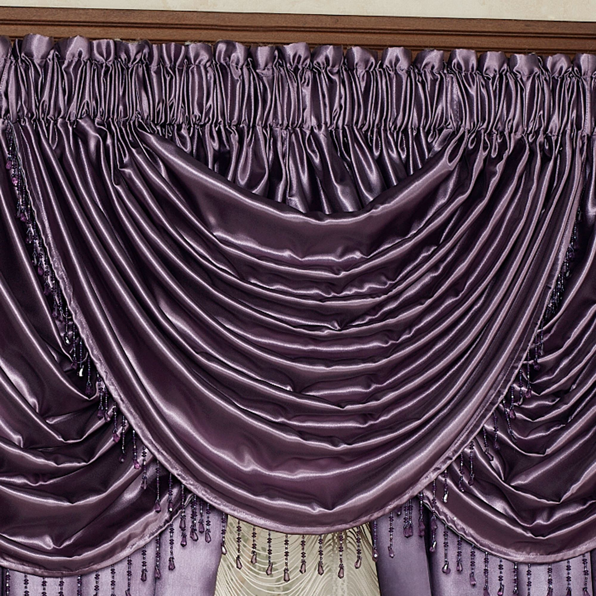 p curtain treatment wide valances valance x purple waterfall with i pair ties window portia sash