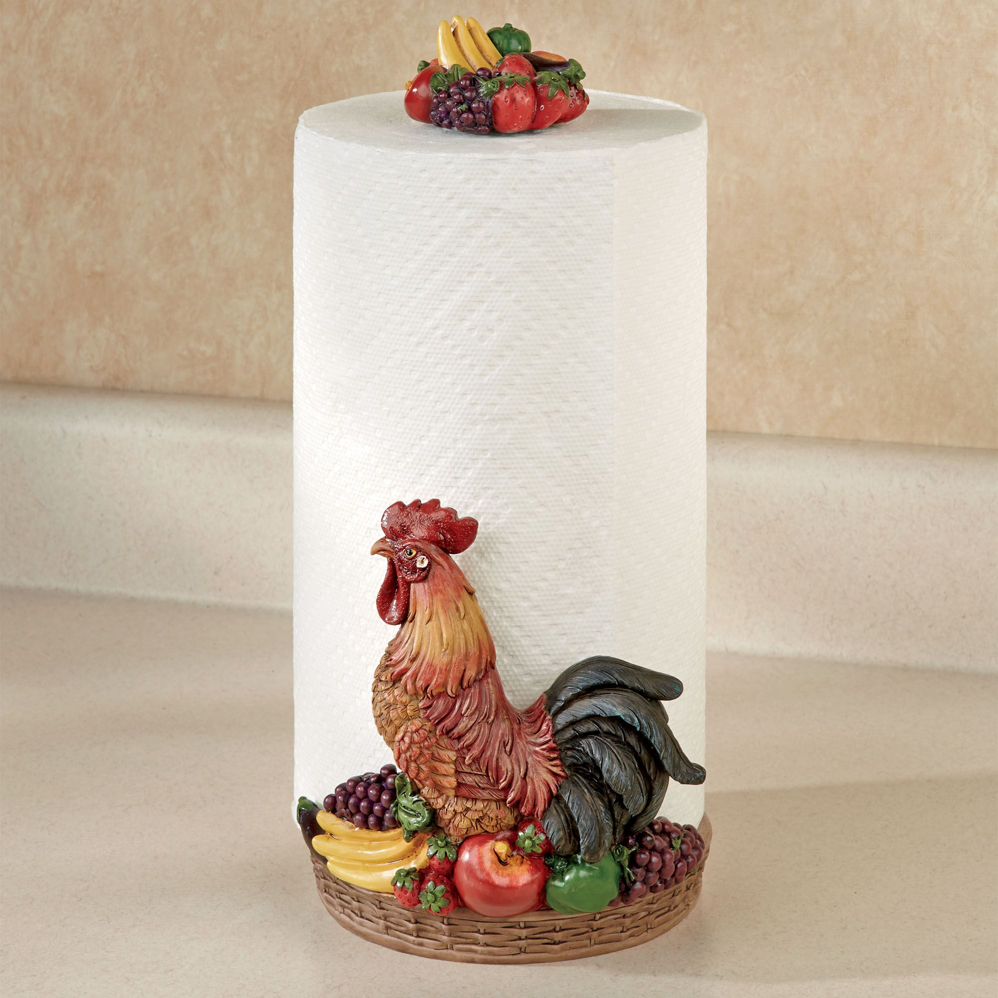 Rooster Medley Paper Towel Holder Multi Earth. Touch To Zoom