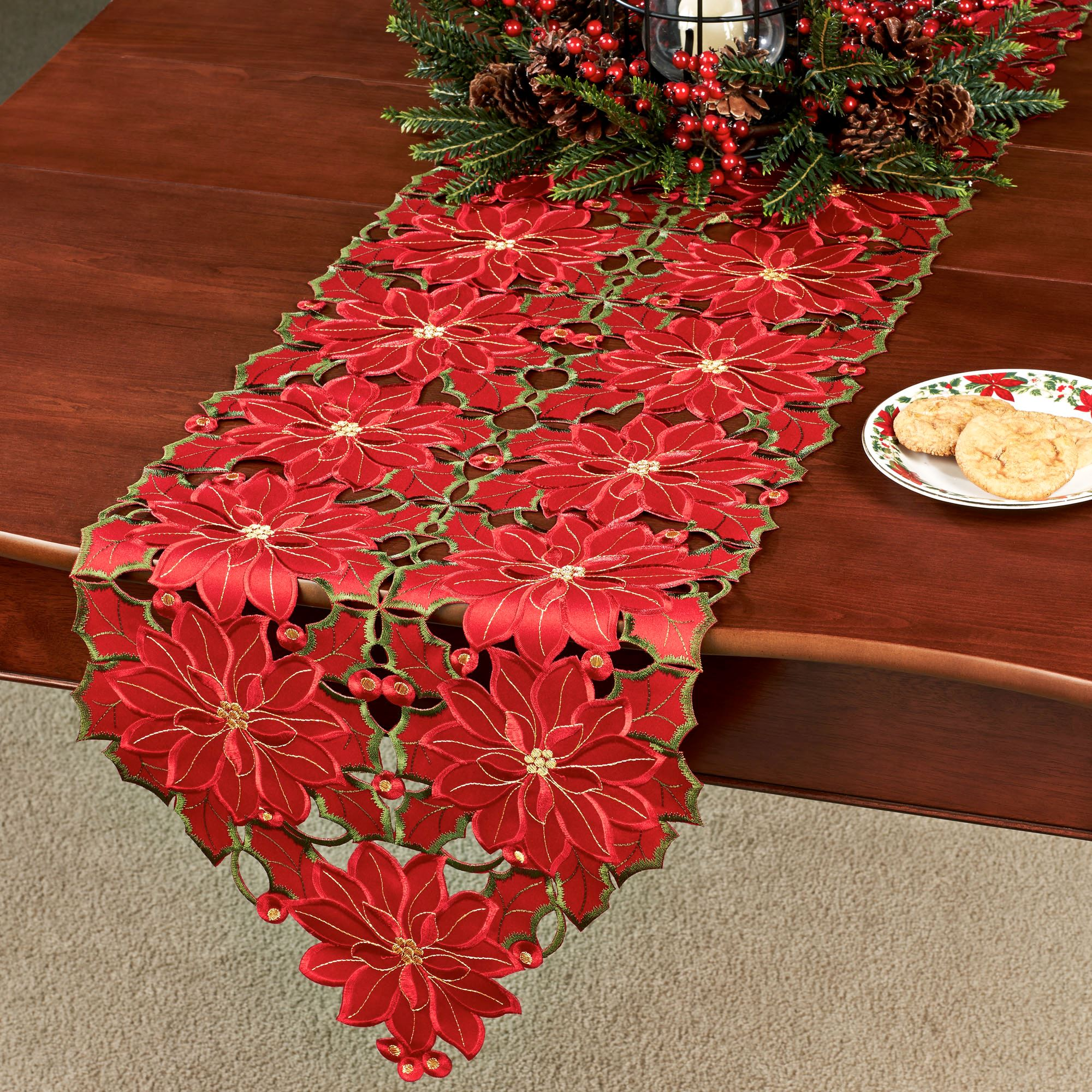 Genial Christmas Poinsettia Dining Table Runner Red 15 X 72