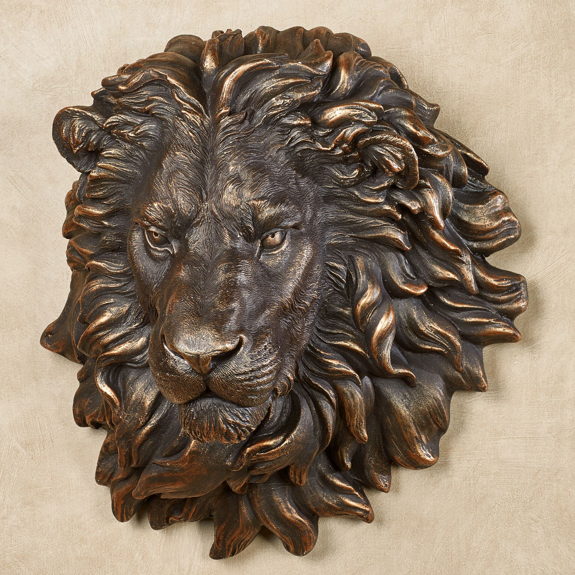 Power and presence lion head wall sculpture for Bronze wall art