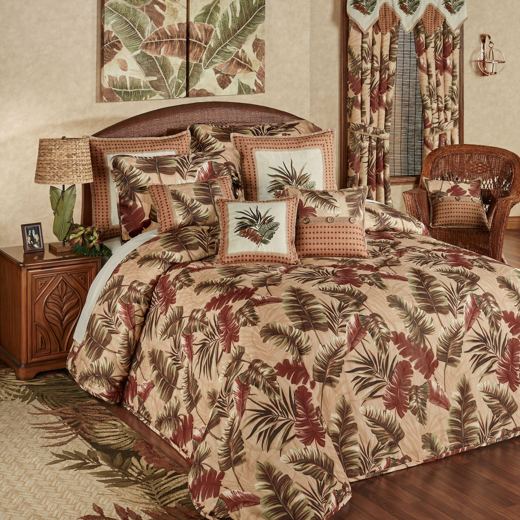 Key West Oversized Quilted Tropical Bedspread Bedding