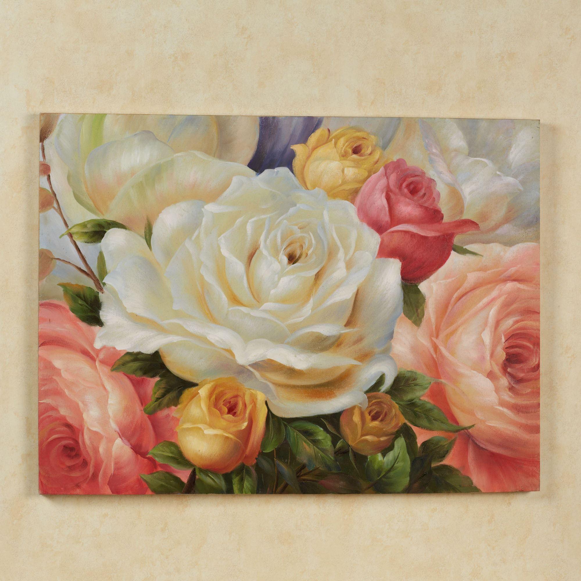Rose Garden Handpainted Floral Canvas Wall Art
