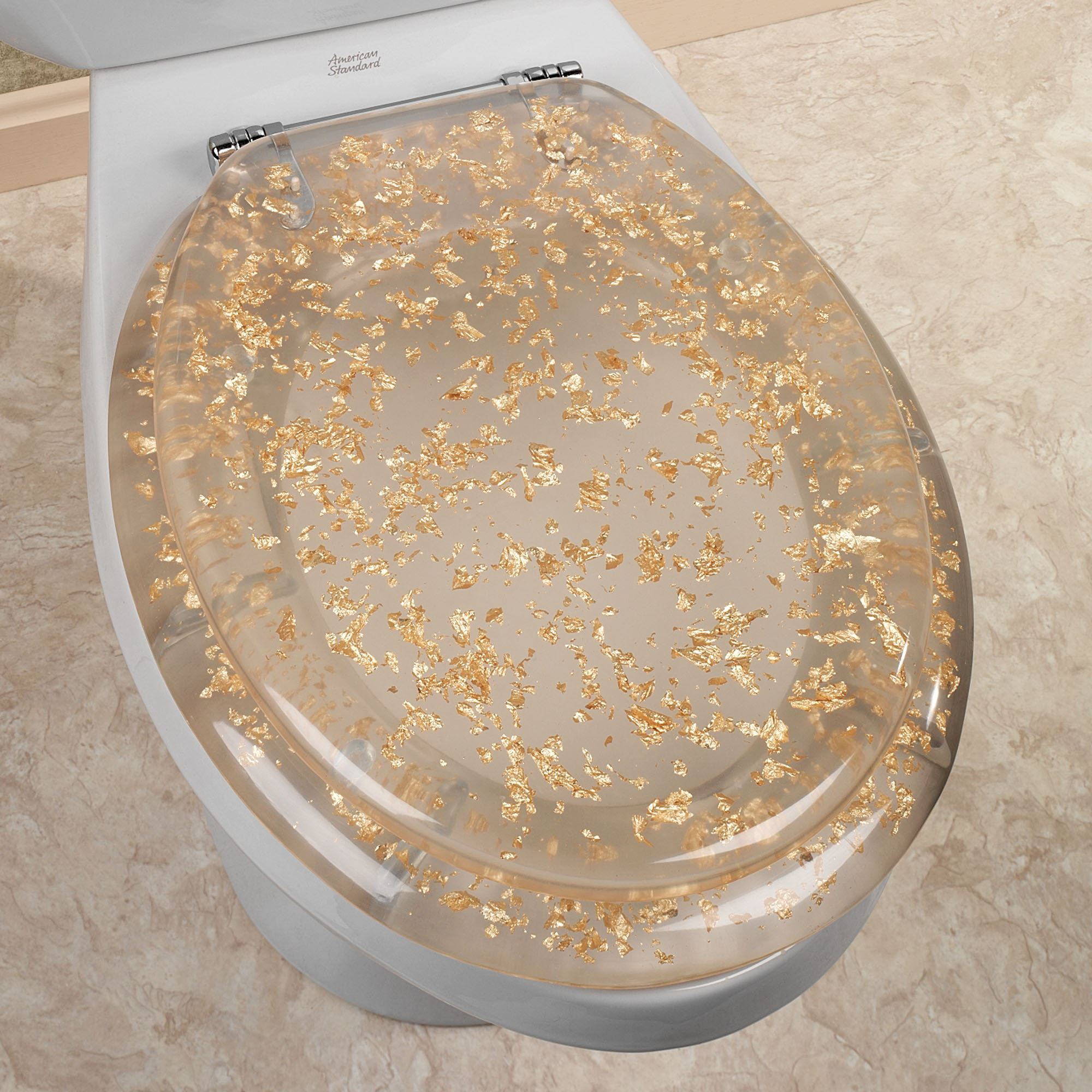 Seashell Home Decor Gold Foil Elongated Toilet Seat