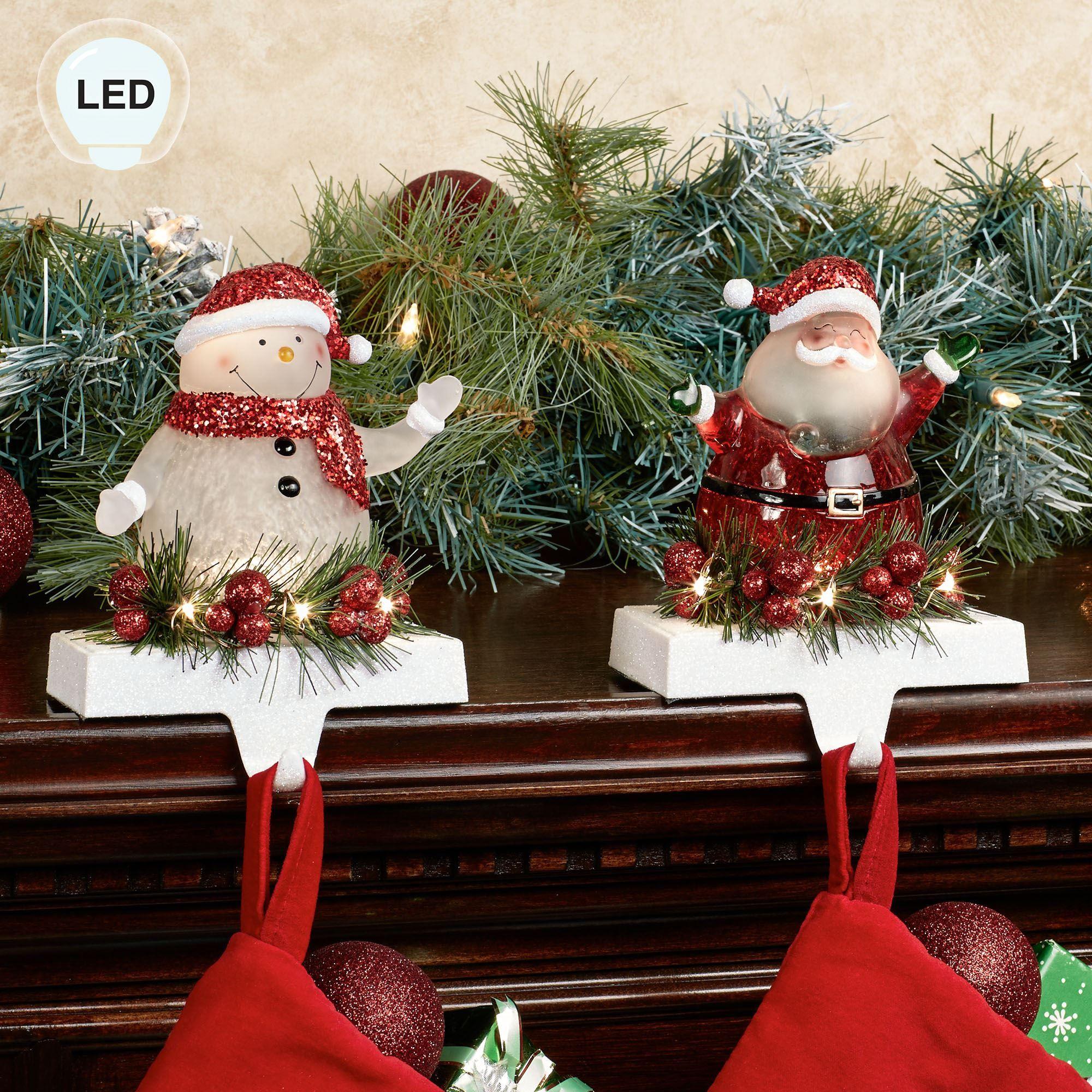 Christmas Stocking Holder.Jolly Led Lighted Christmas Stocking Holder Set By Roman