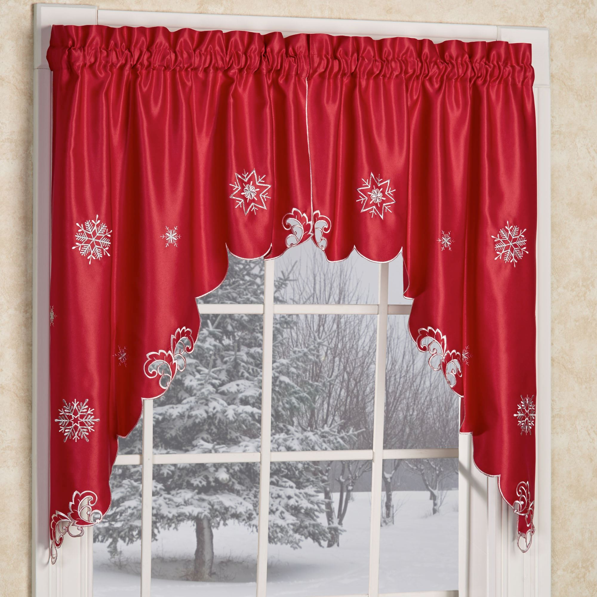 Metallic Snowflake Swag Valance Pair Red 60 X 38