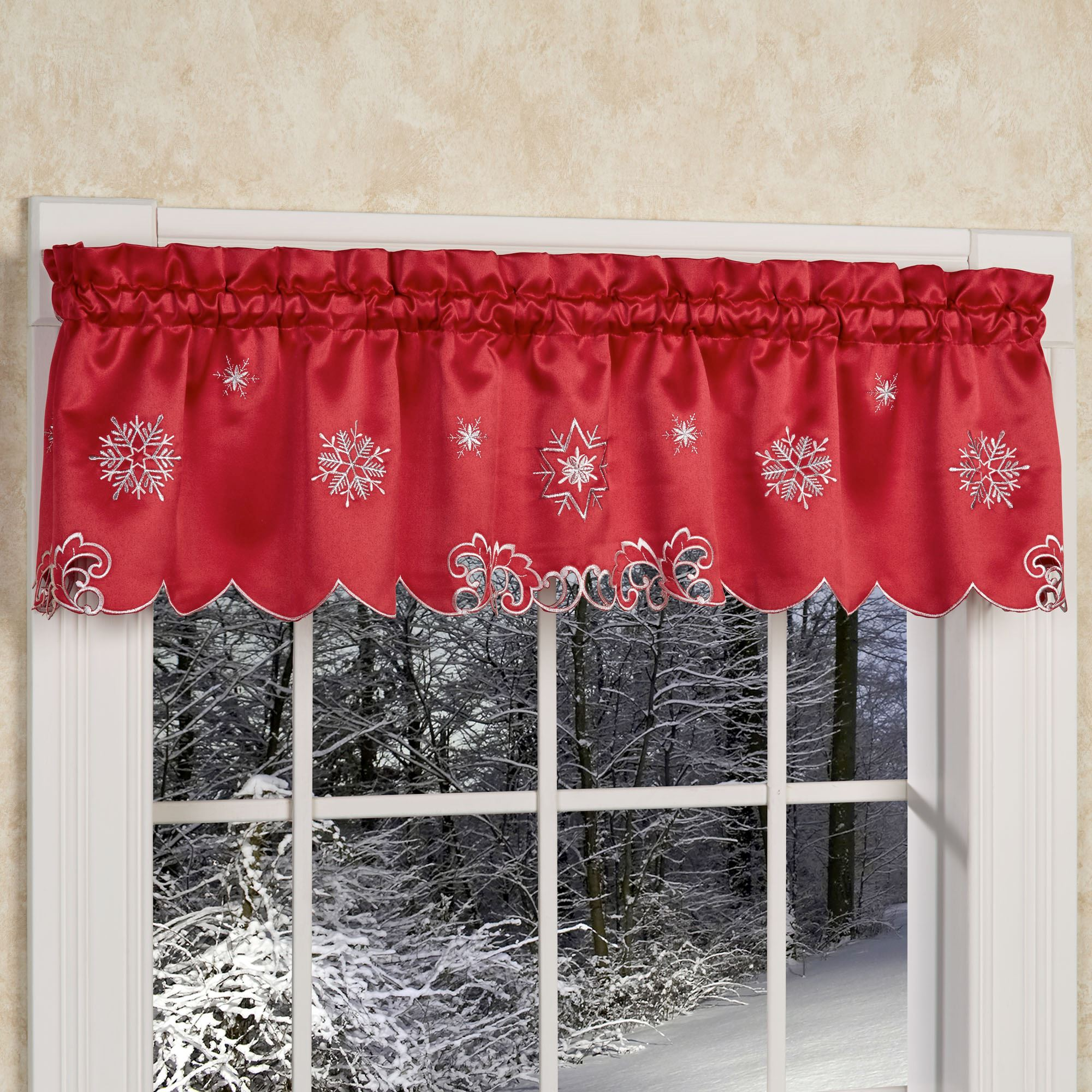 Metallic Snowflake Red Holiday Tier Window Treatment