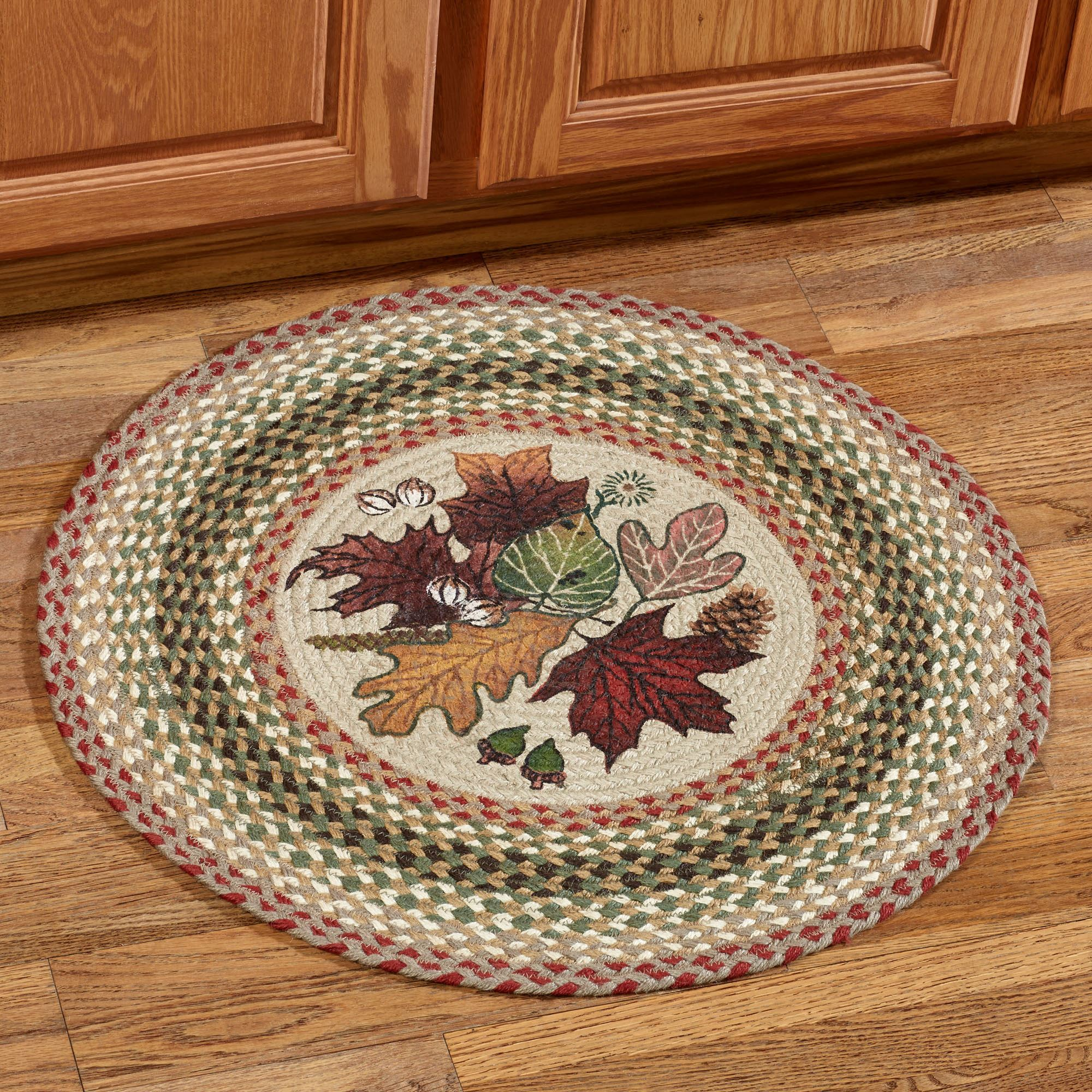 Autumn Leaves Natural Braided Round Rug
