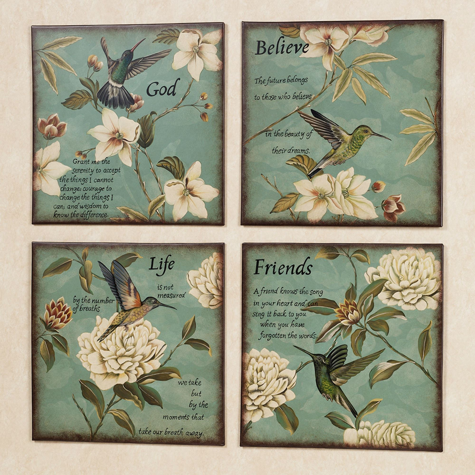 Inspirational Hummingbirds Wall Plaque Set