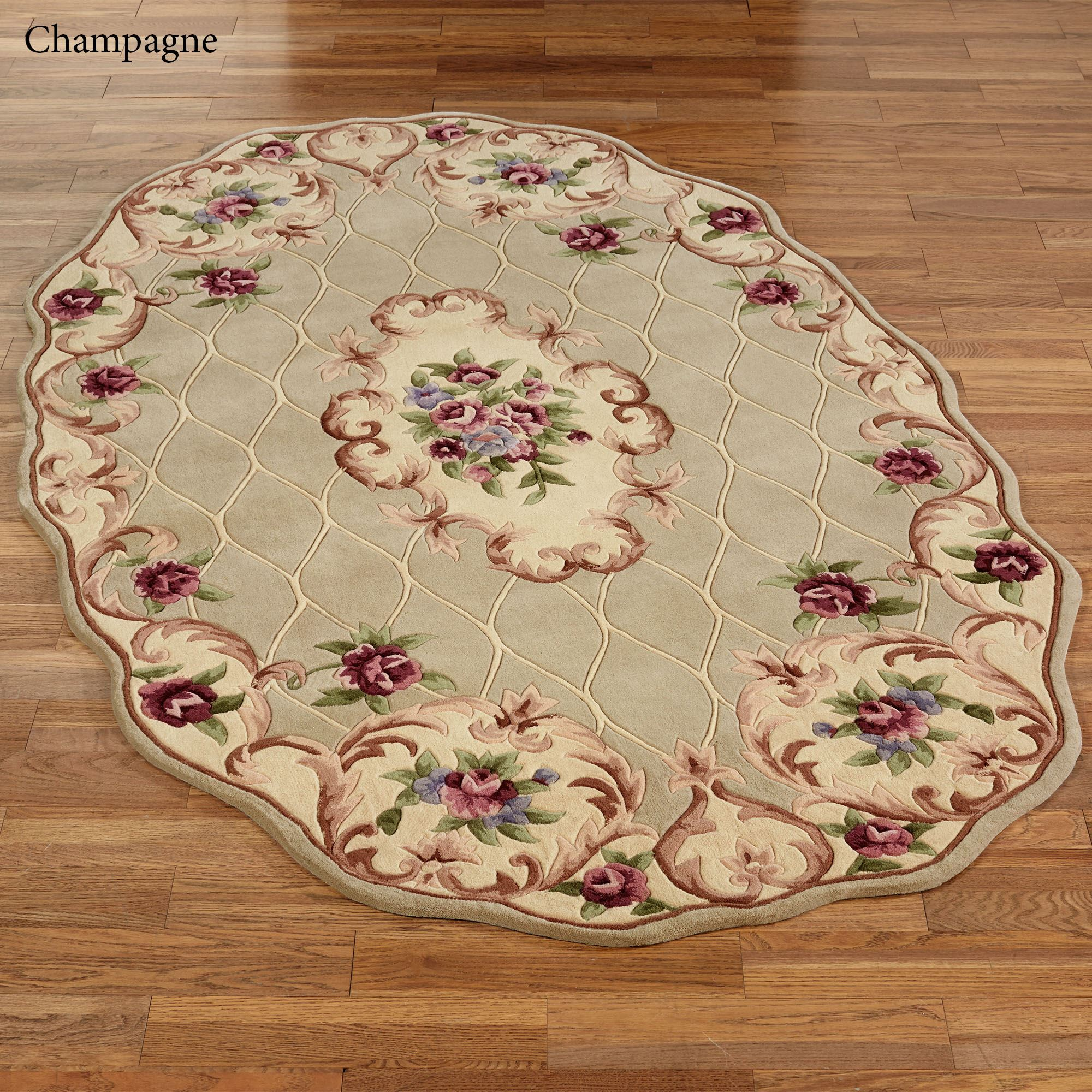 Marquis Aubusson Floral Scalloped Area Rugs