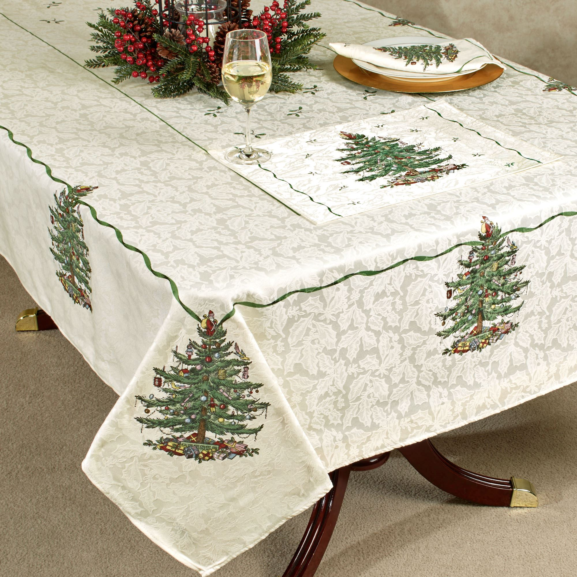 Christmas Tree Oblong Tablecloth Light Cream Touch To Zoom