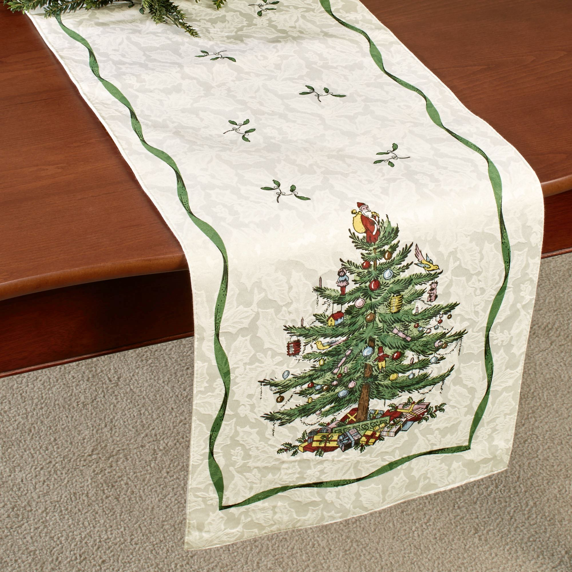 christmas tree table runner light cream
