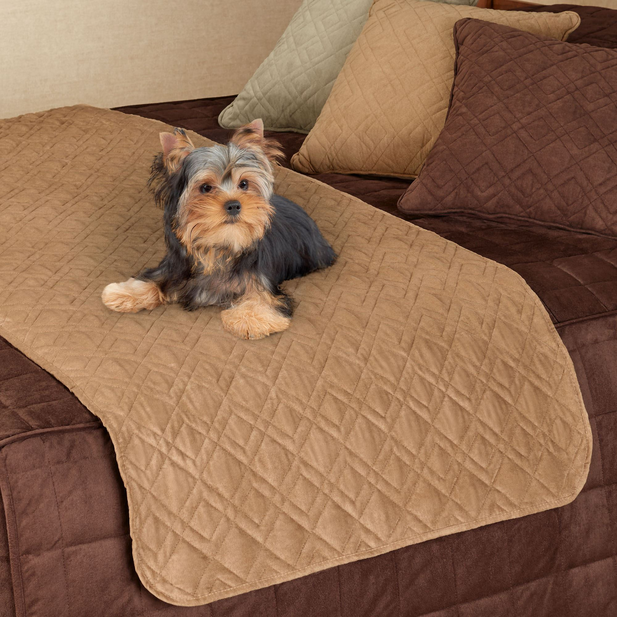 Mason Ultimate Quilted Faux Suede Bed Protector For Pets