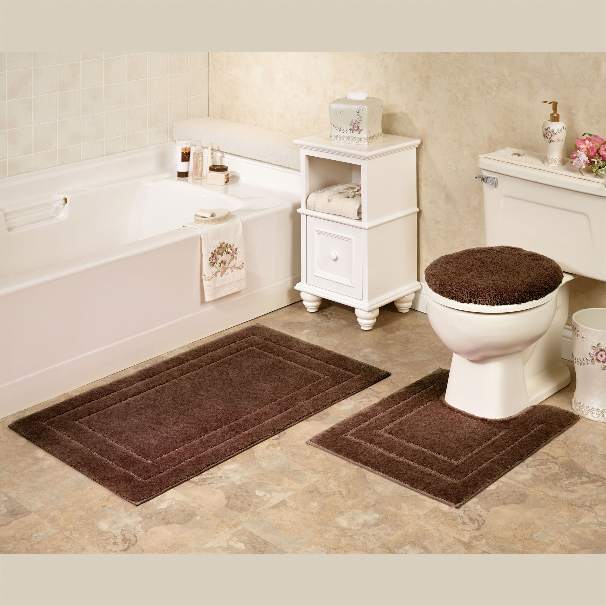 Soho solid color bath rugs or contour mats for Bathroom decor rugs