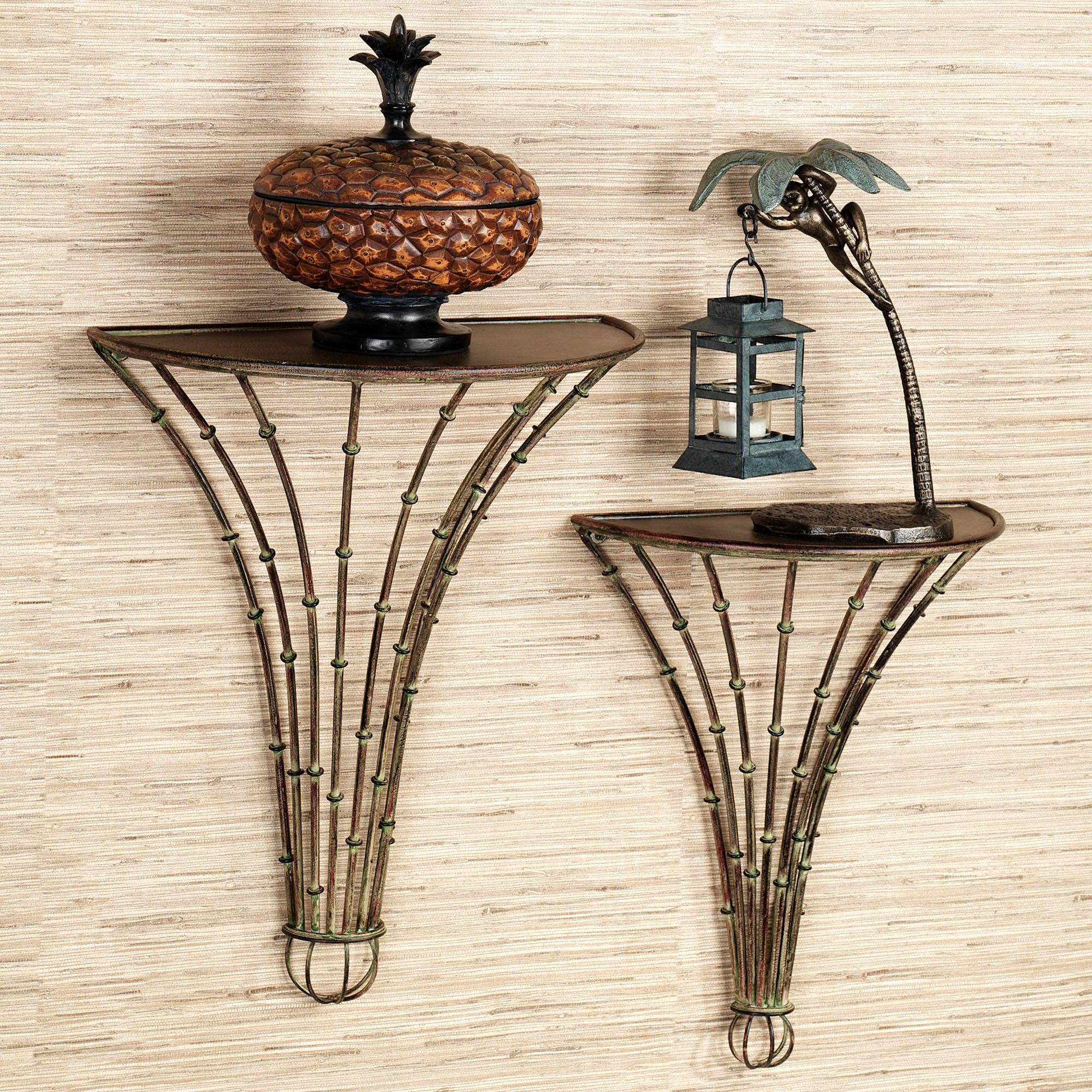 Bamboo Forest Indoor Outdoor Metal Wall Shelf Set