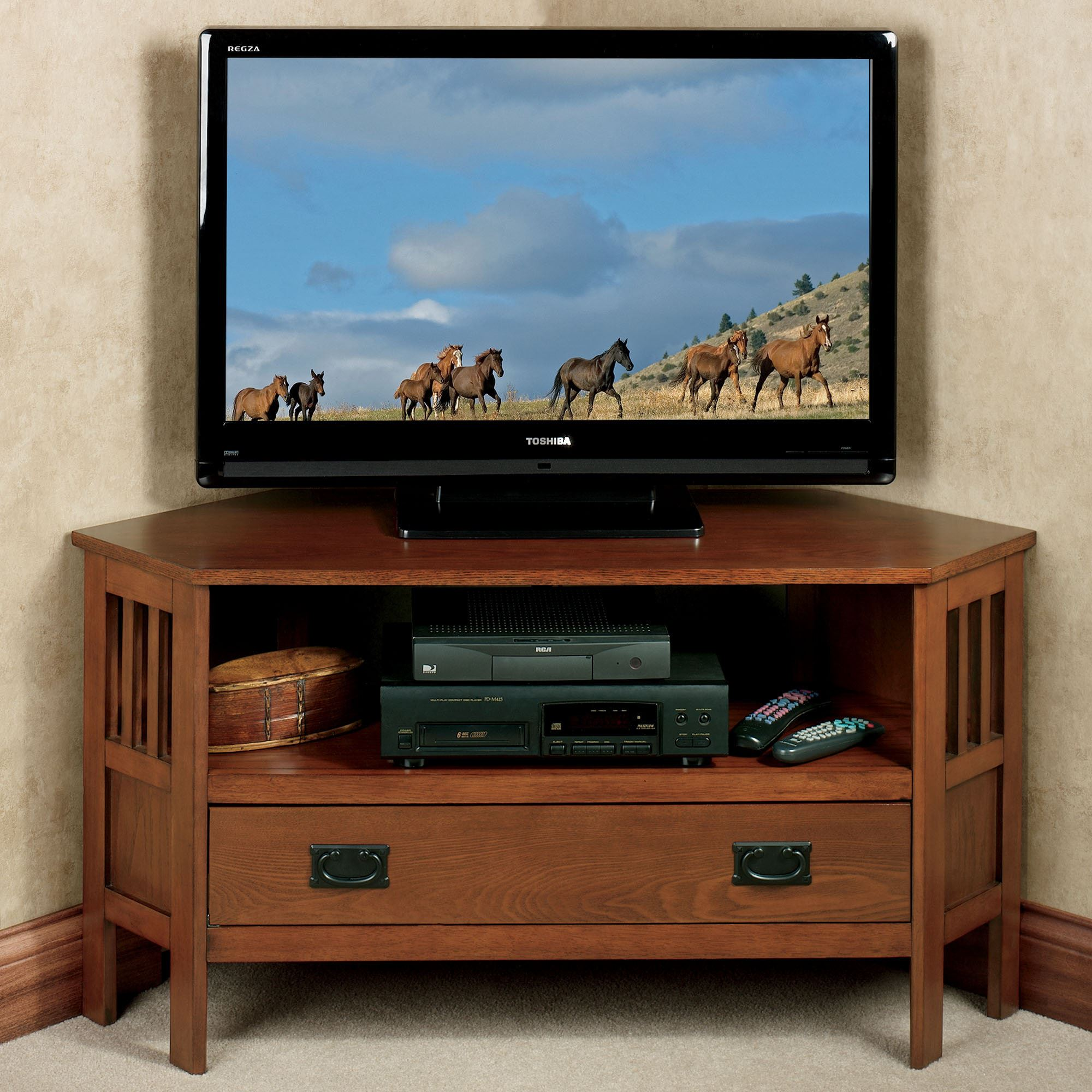 Laramie Corner Tv Media Stand Mission Red Oak Touch To Zoom