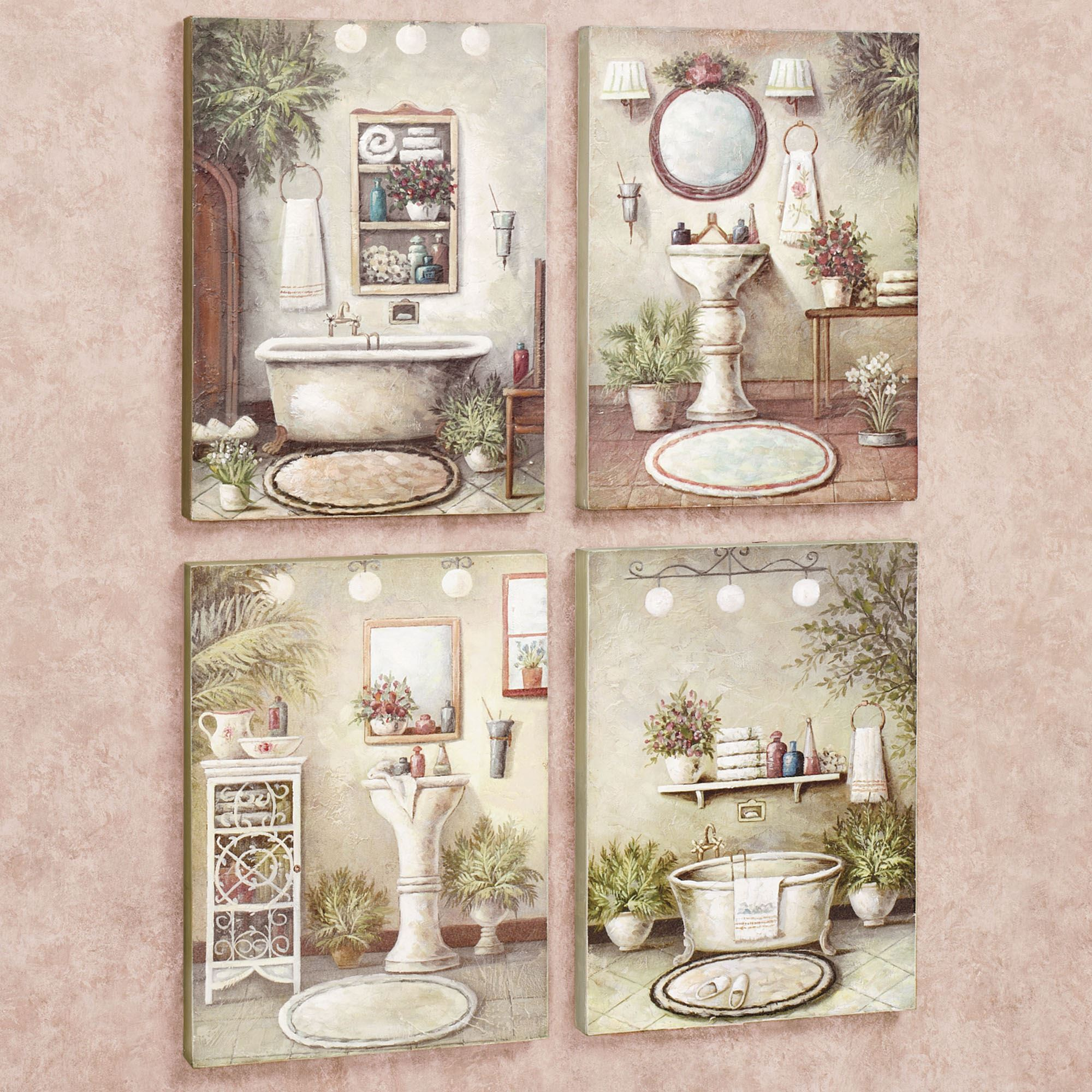 Bathroom Bliss Wooden Wall Art Plaque Set
